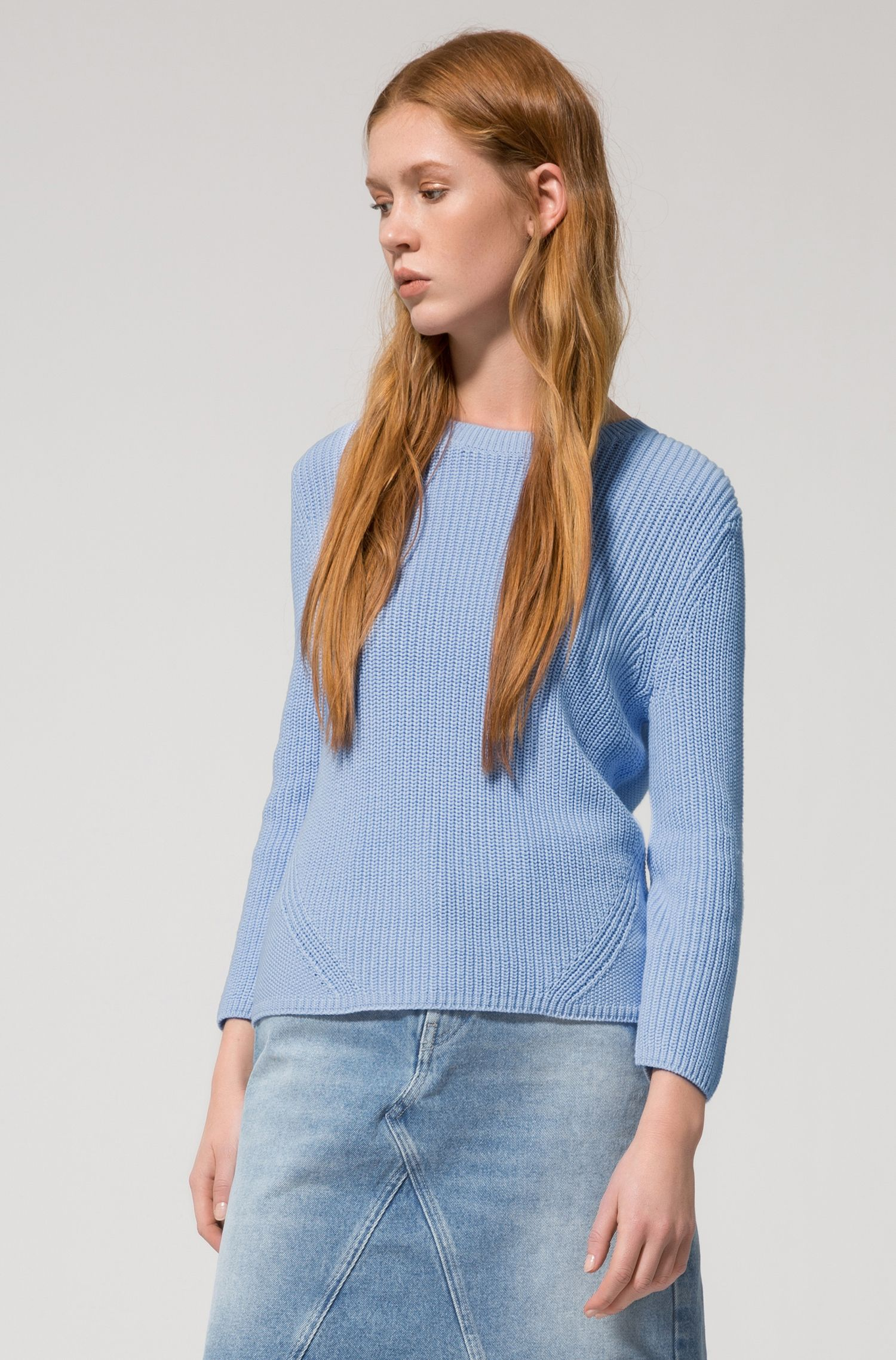 Half-cardigan knitted sweater in pure cotton