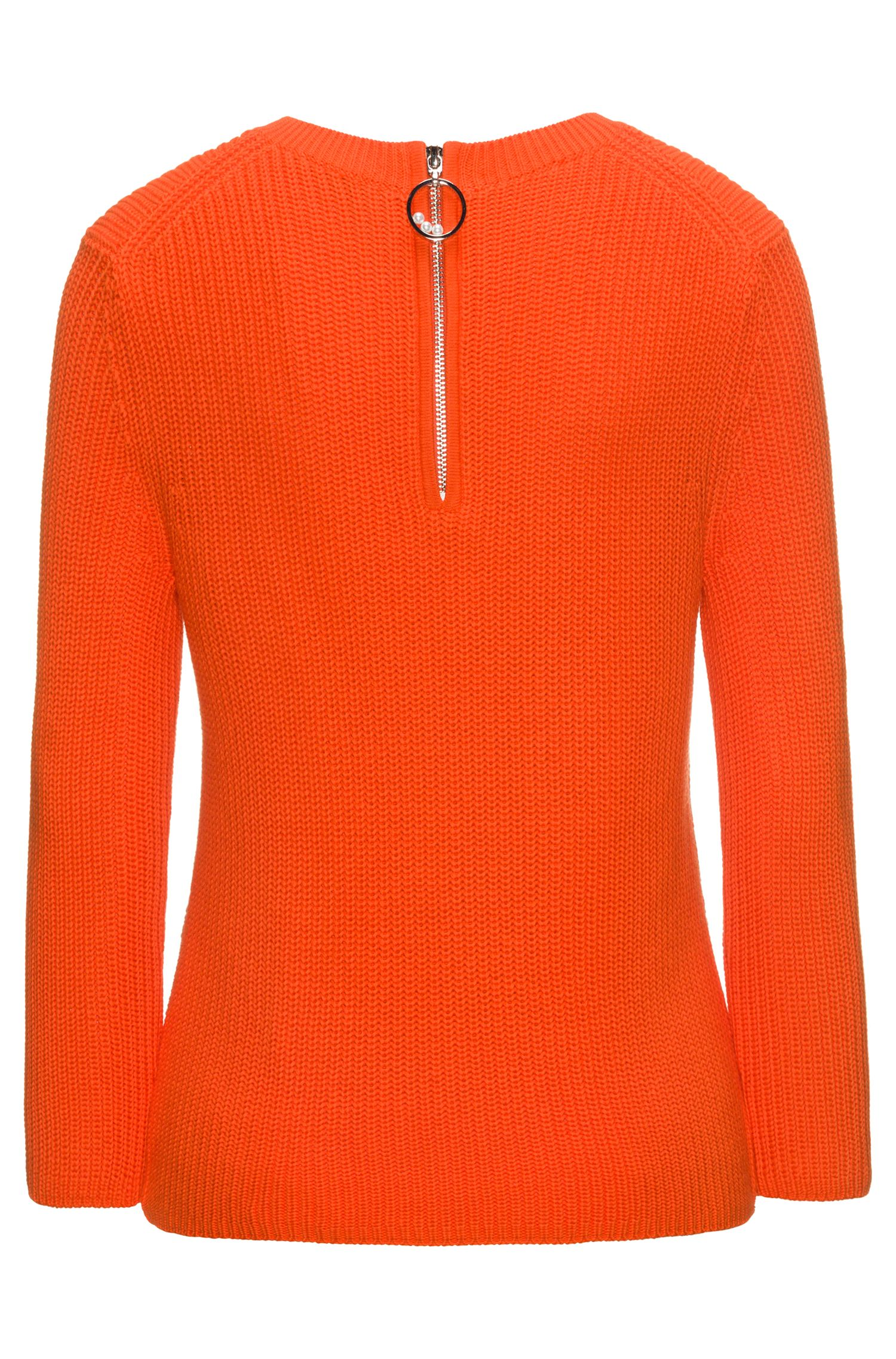 Half-cardigan knitted sweater in pure cotton, Orange