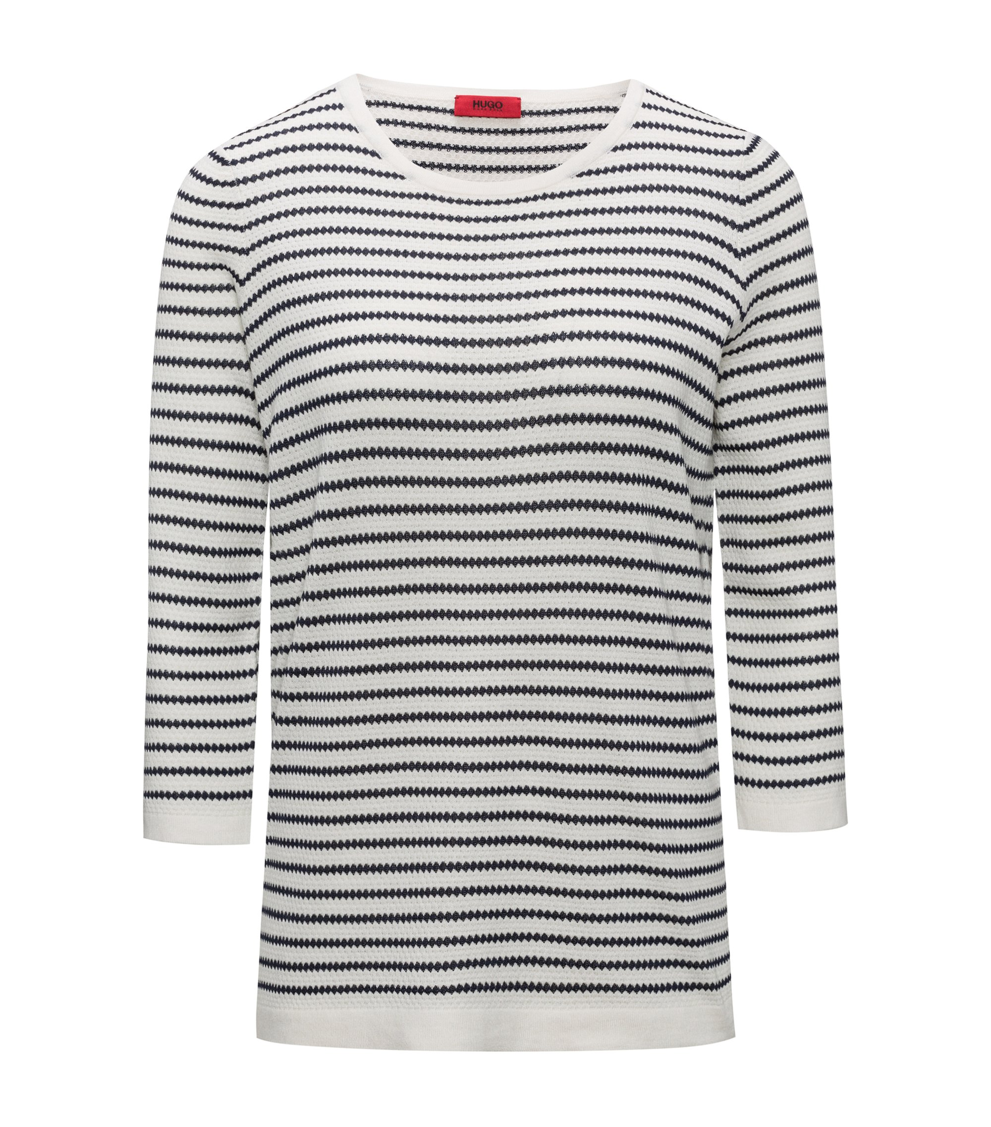 Boat-neck sweater in striped waffle structure, Patterned
