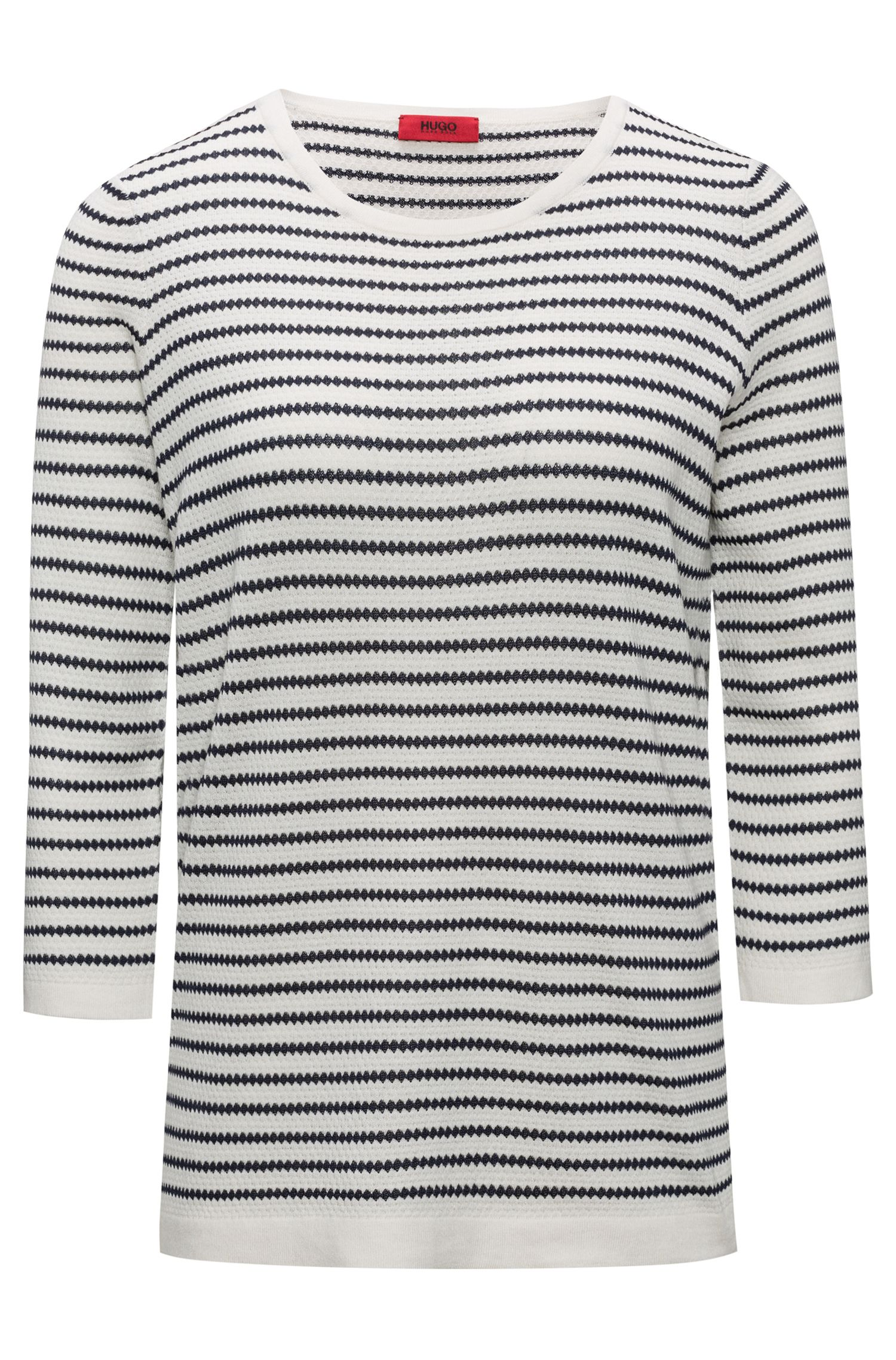 Boat-neck sweater in striped waffle structure