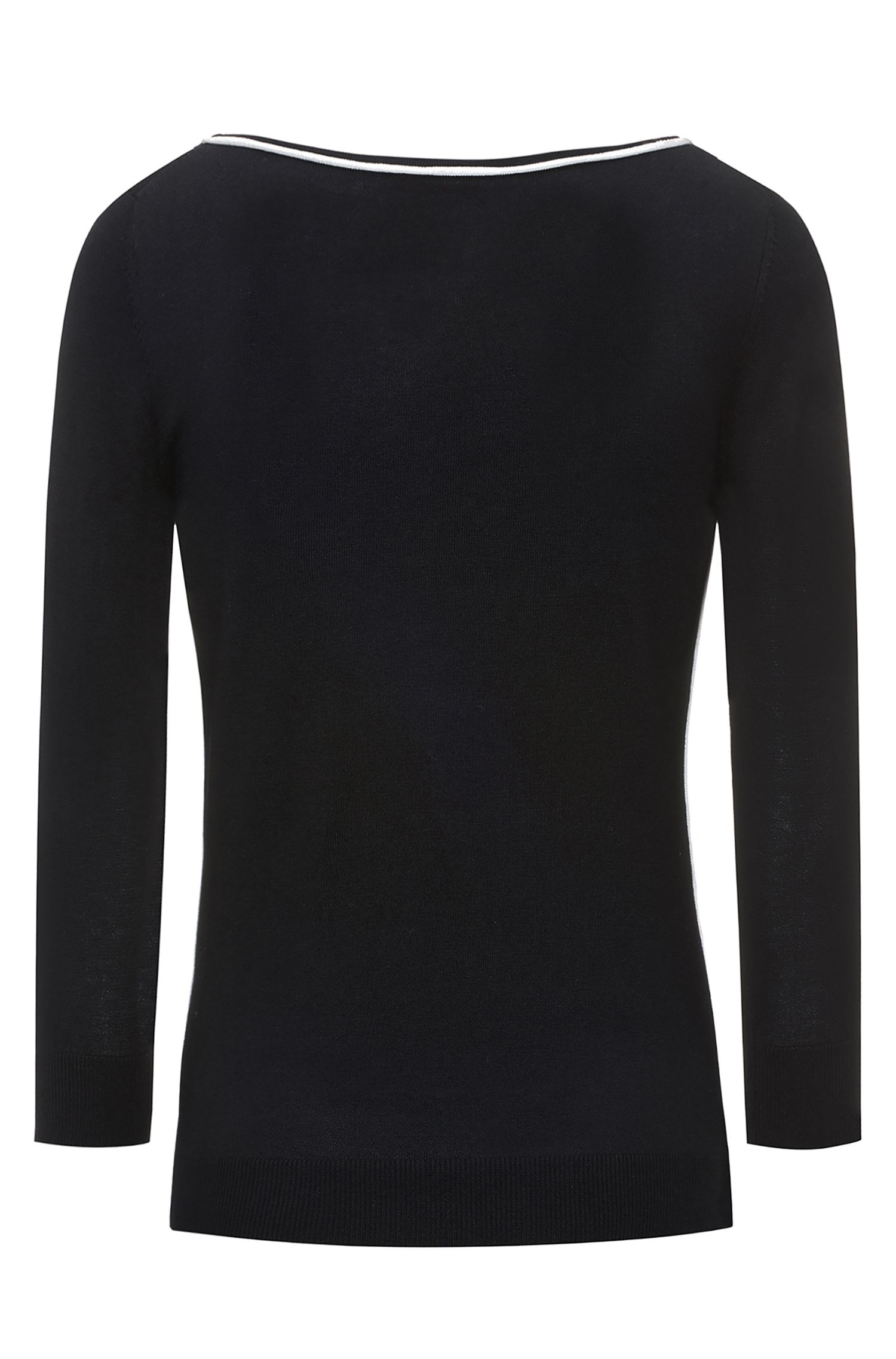 Boat-neck silk-blend sweater with contrast piping