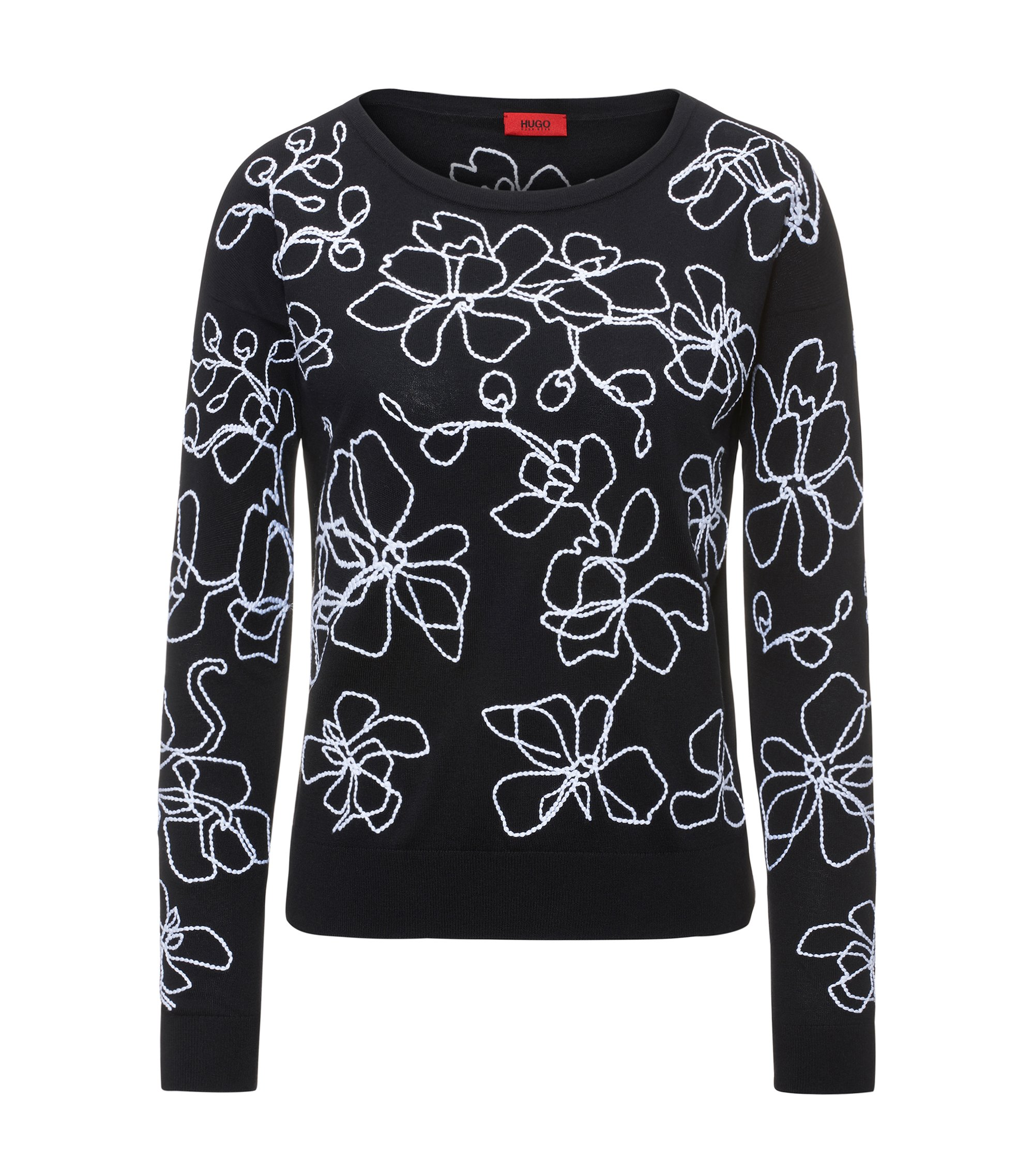 Dropped-shoulder embroidered sweater in a silk-cotton blend, Patterned
