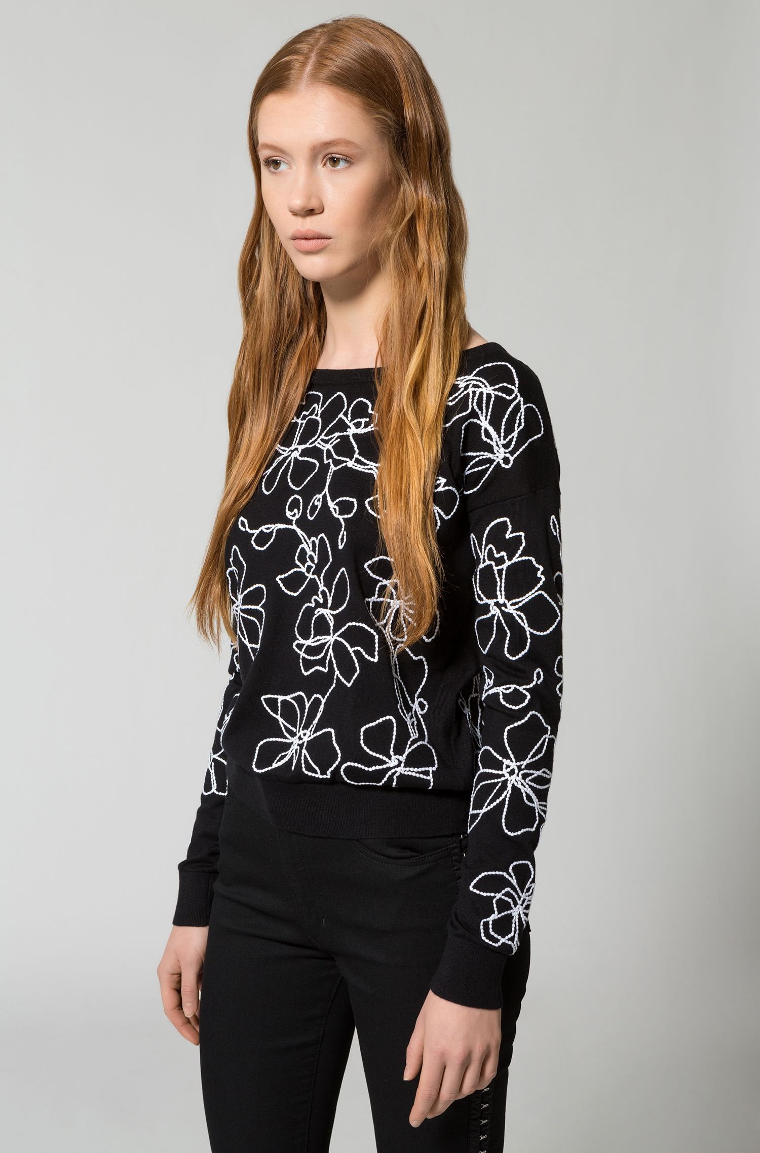 Dropped-shoulder embroidered sweater in a silk-cotton blend