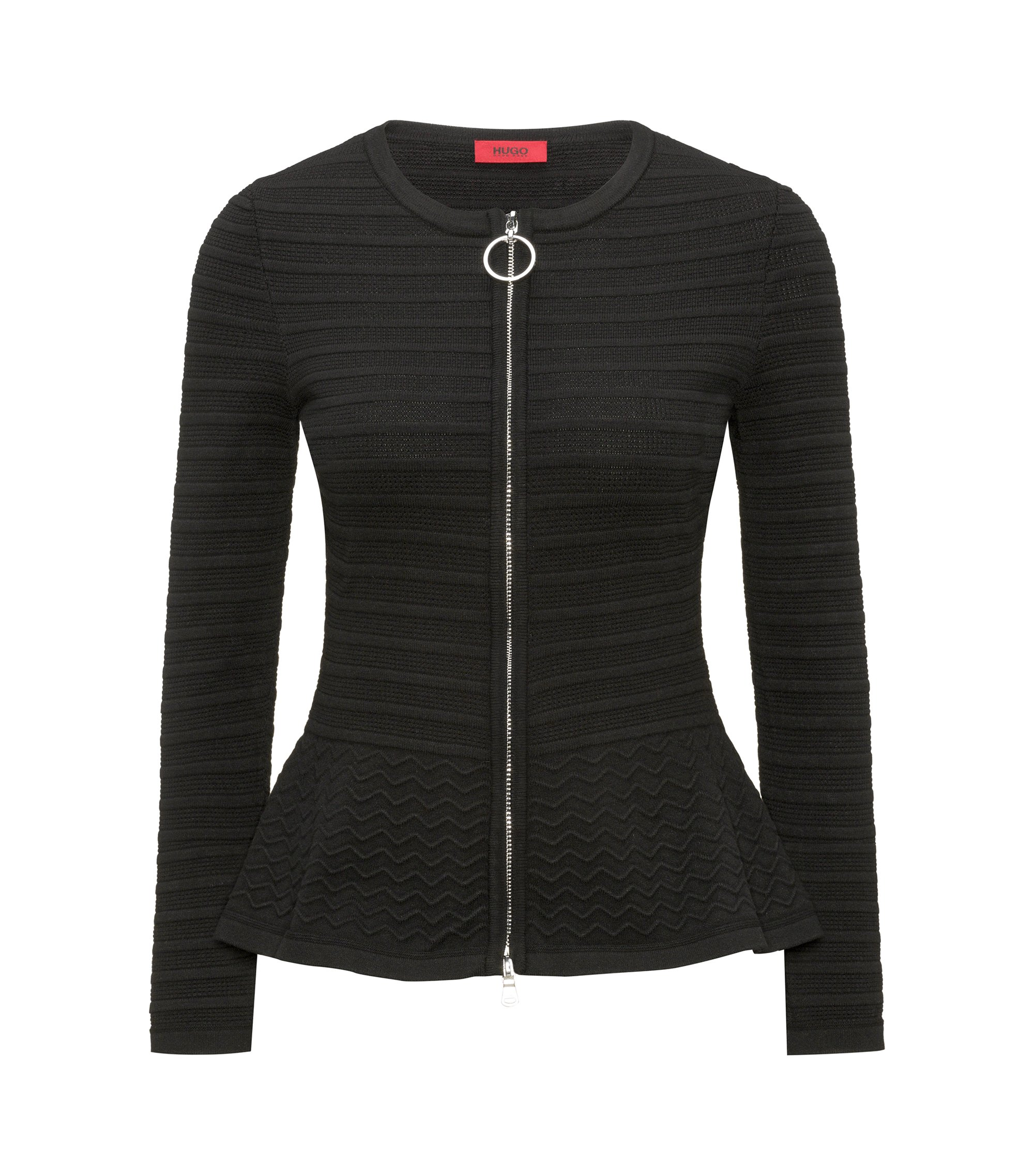 Slim-fit knitted jacket in mixed 3D structures, Black
