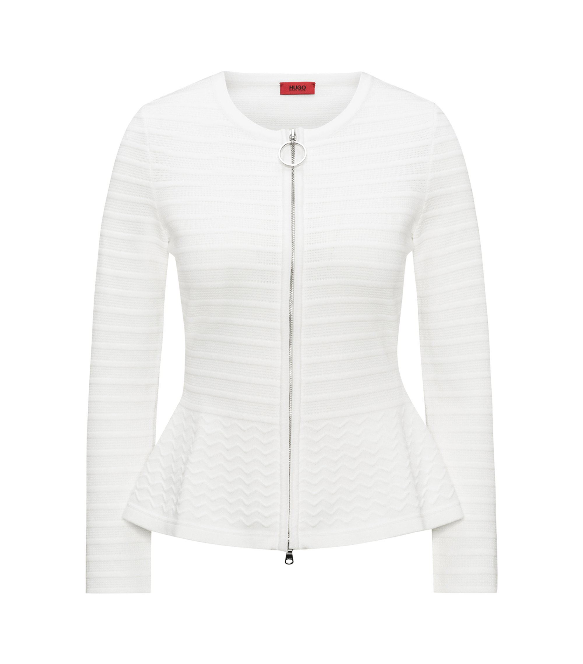 Slim-fit knitted jacket in mixed 3D structures, White