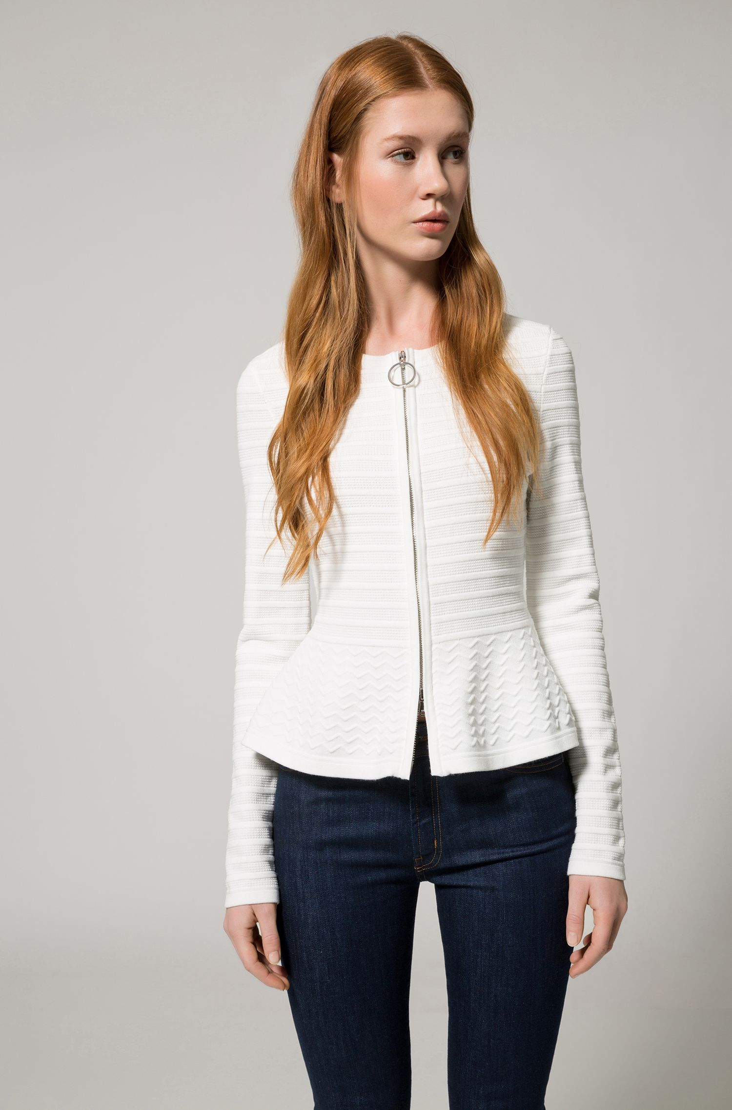 Slim-fit knitted jacket in mixed 3D structures