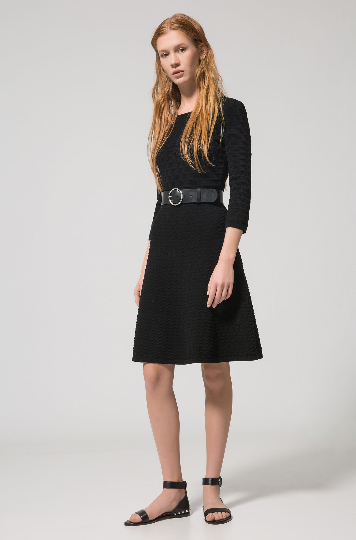 Crew-neck knitted dress in mixed 3D structures HUGO BOSS