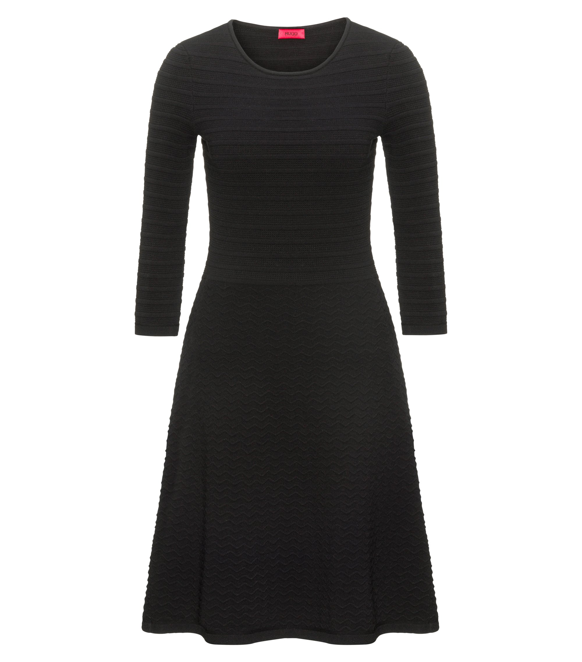 Crew-neck knitted dress in mixed 3D structures, Black