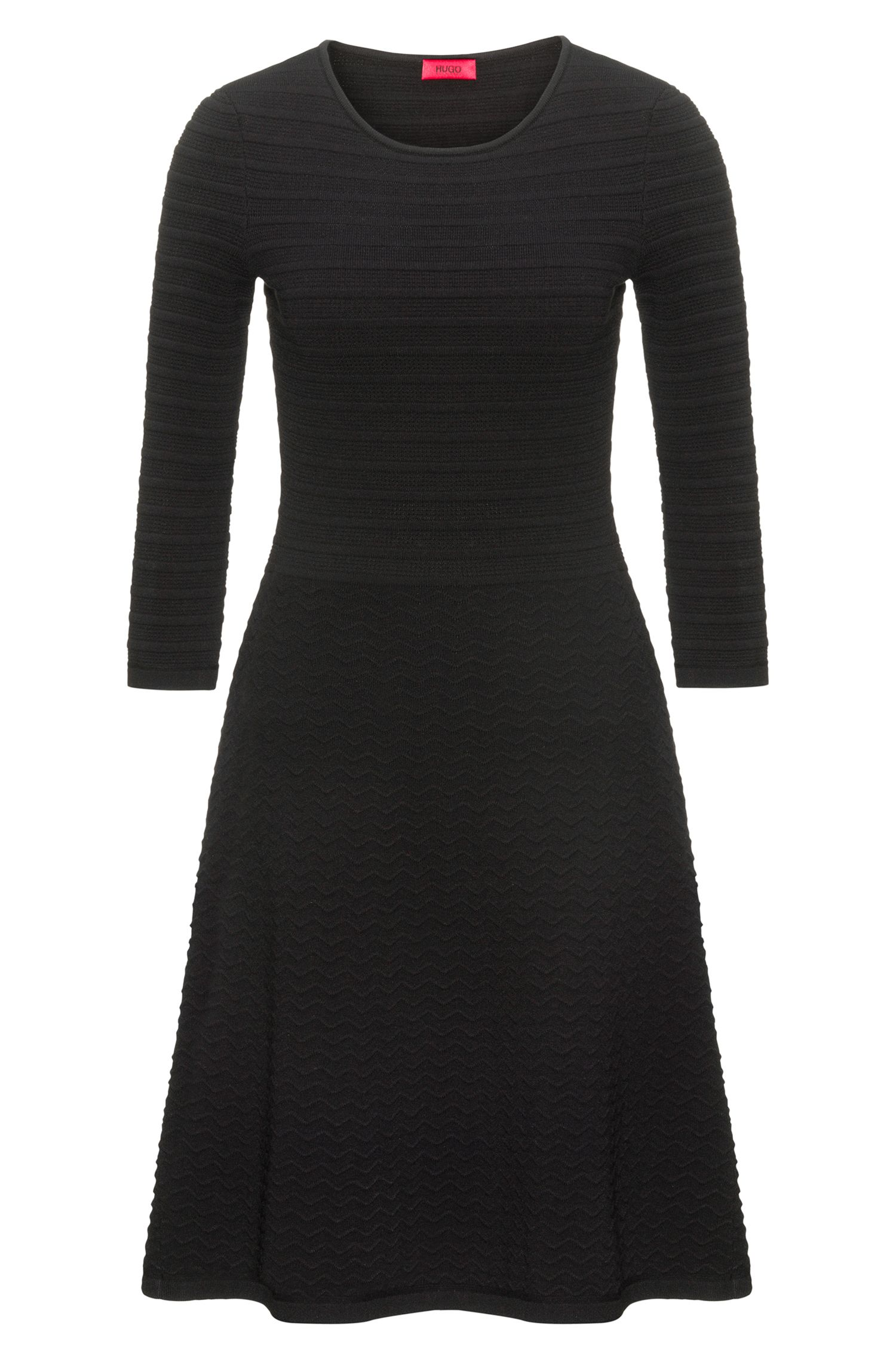 Crew-neck knitted dress in mixed 3D structures
