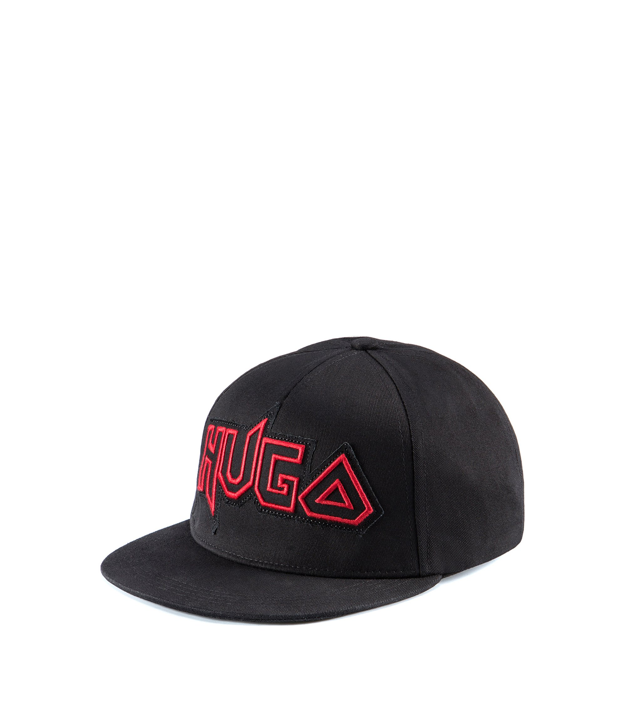 Edgy logo baseball cap in cotton gabardine, Black