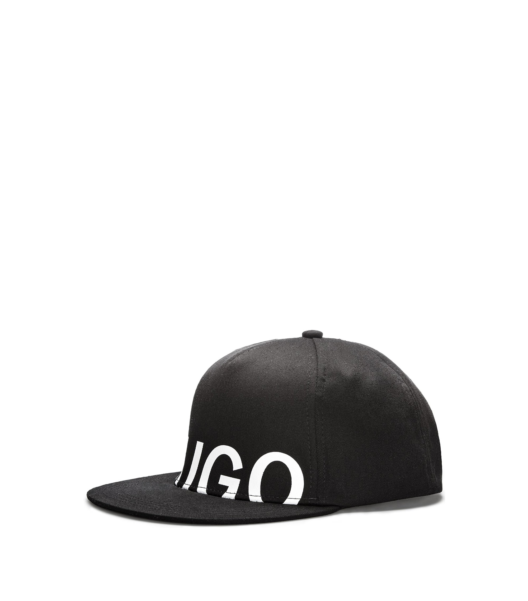 Logo baseball cap in cotton gabardine, Black