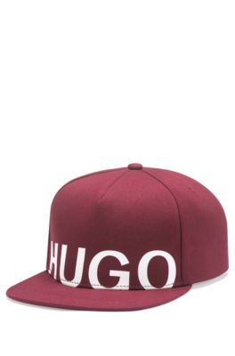 Logo baseball cap in cotton gabardine, Dark Red
