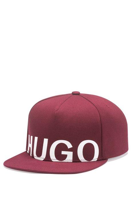 Logo baseball cap in cotton gabardine, Dark Red