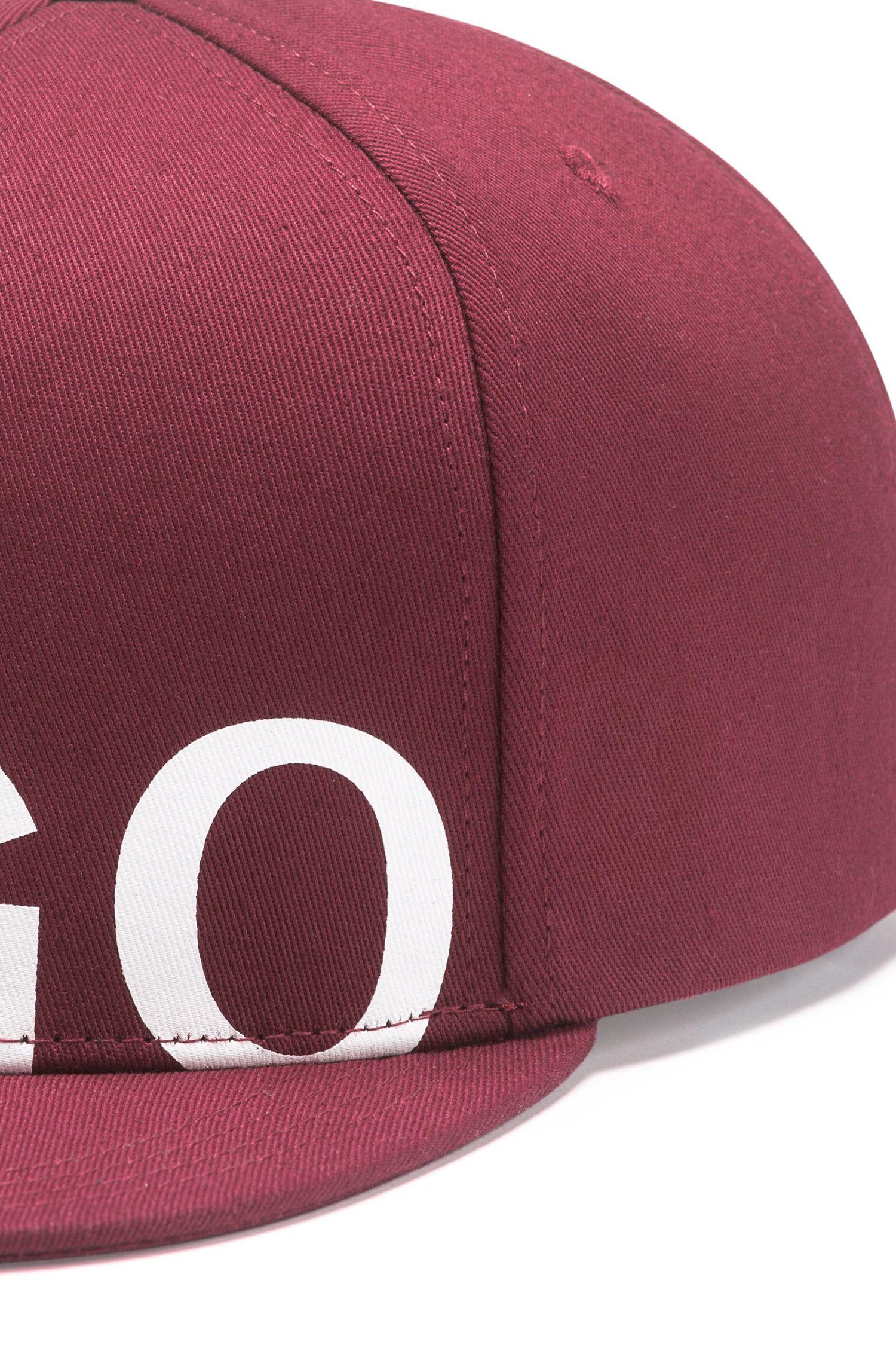 Baseballpet van katoenen gabardine met logo, Donkerrood