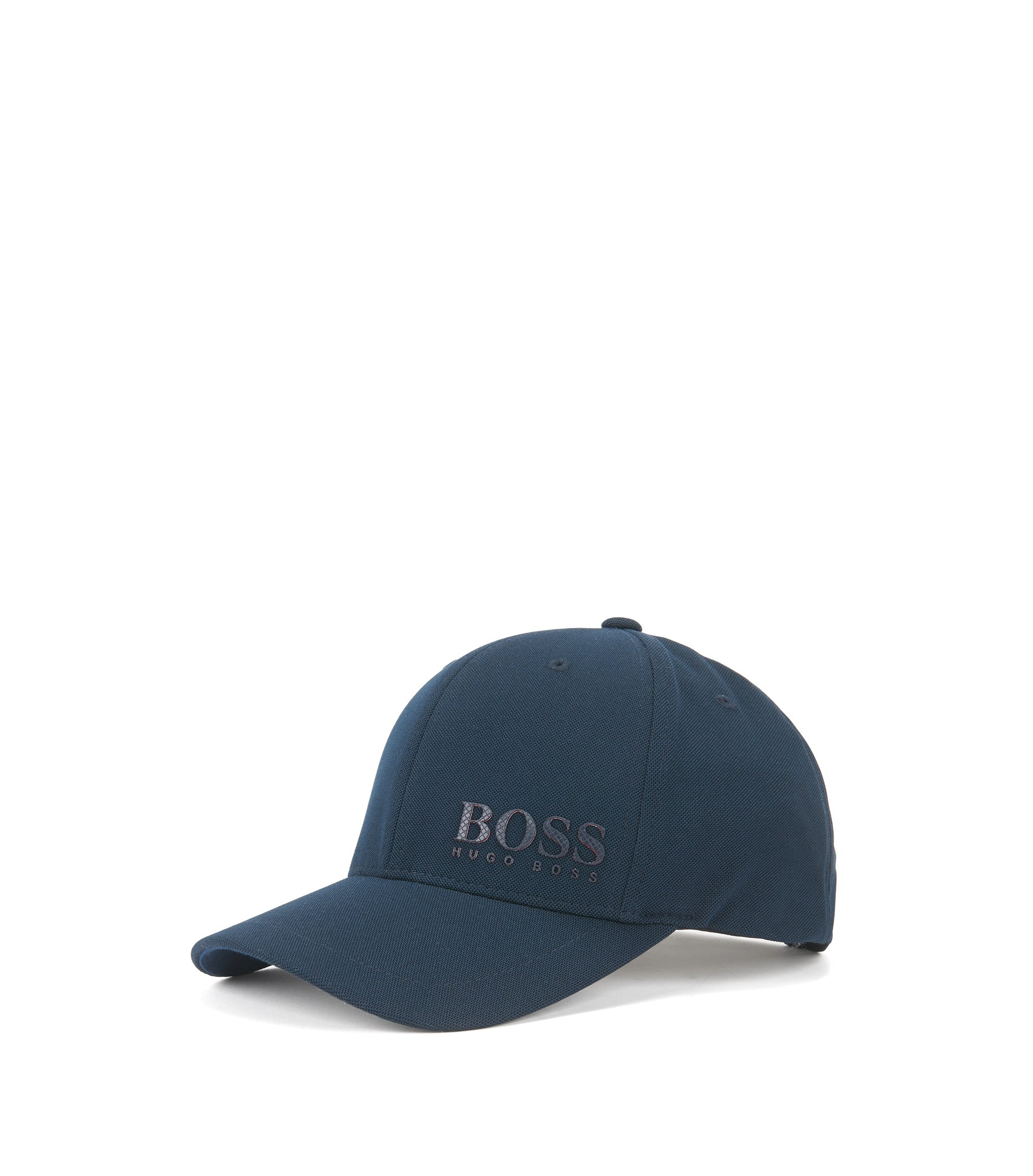 Mesh baseball cap with national flag three-layer logo, Dark Blue