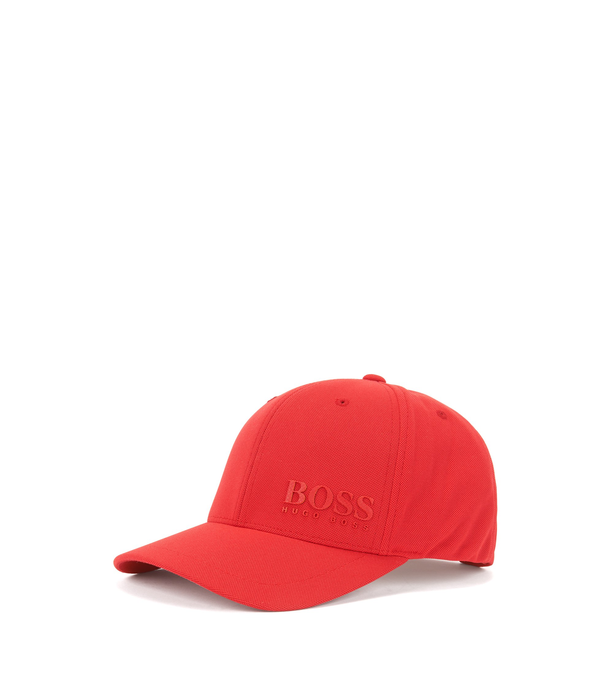 Mesh baseball cap with national flag three-layer logo, Dark Red