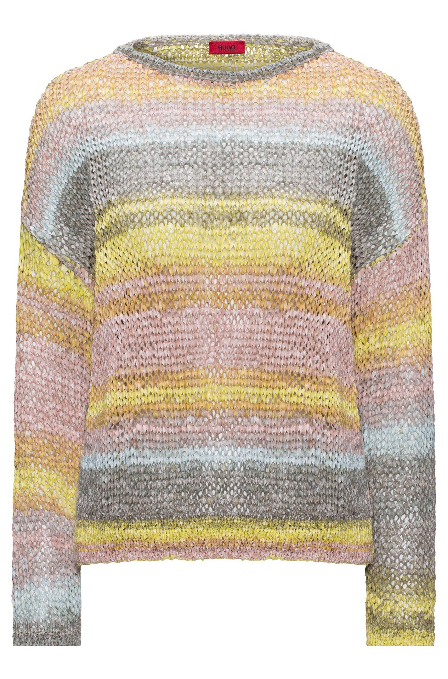 Mehrfarbiger Pullover aus Bändchengarn in Cropped-Länge