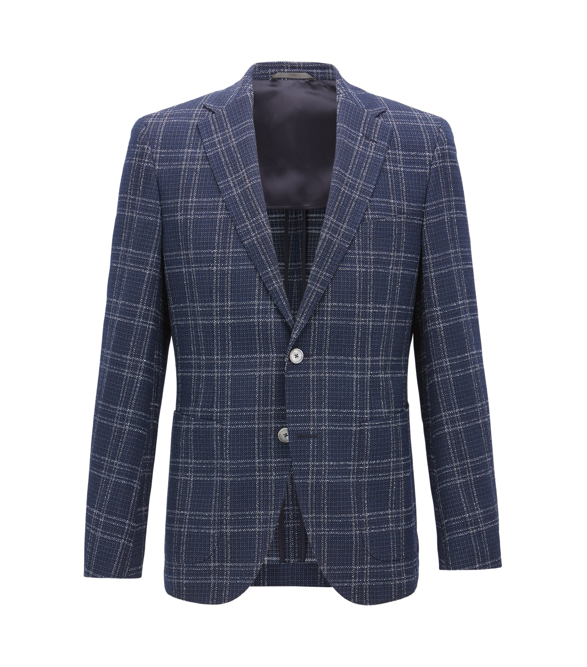 Blazer regular fit in misto lana vergine elasticizzata a quadri, Blu scuro
