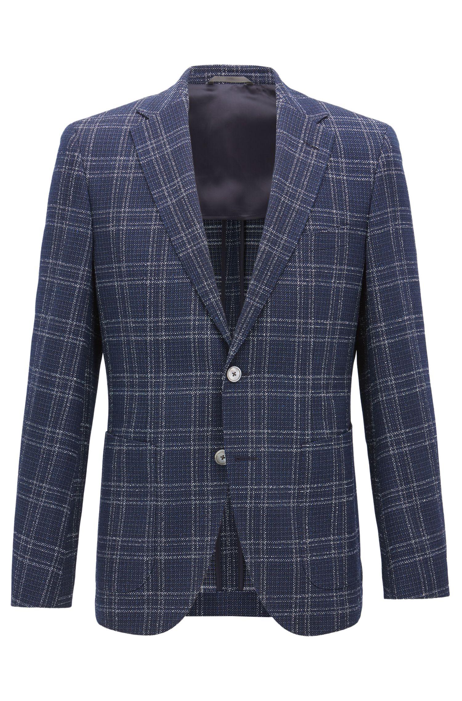 Regular-fit blazer in check virgin-wool blend
