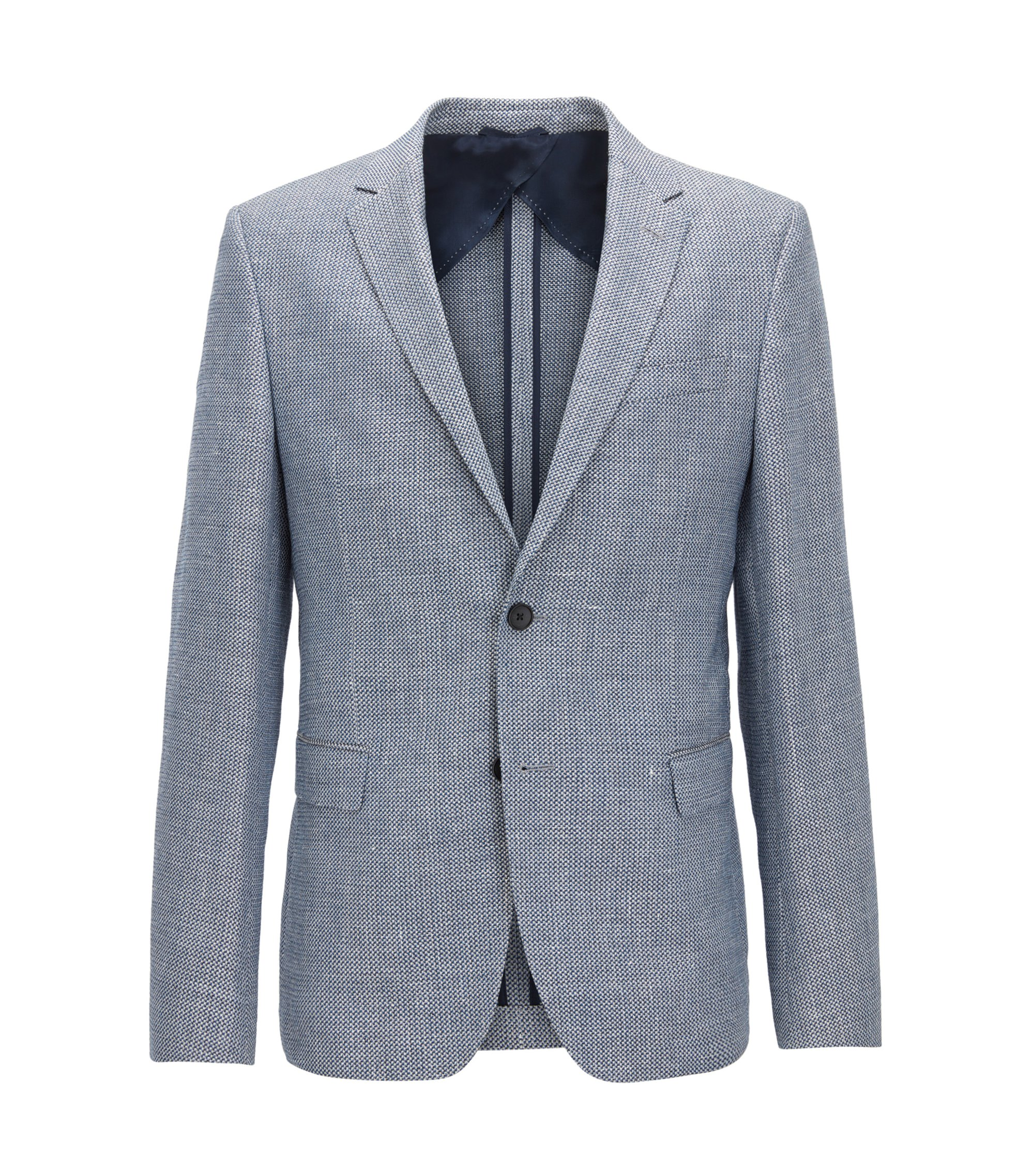 Slim-fit jacket in a patterned wool blend, Open Blue