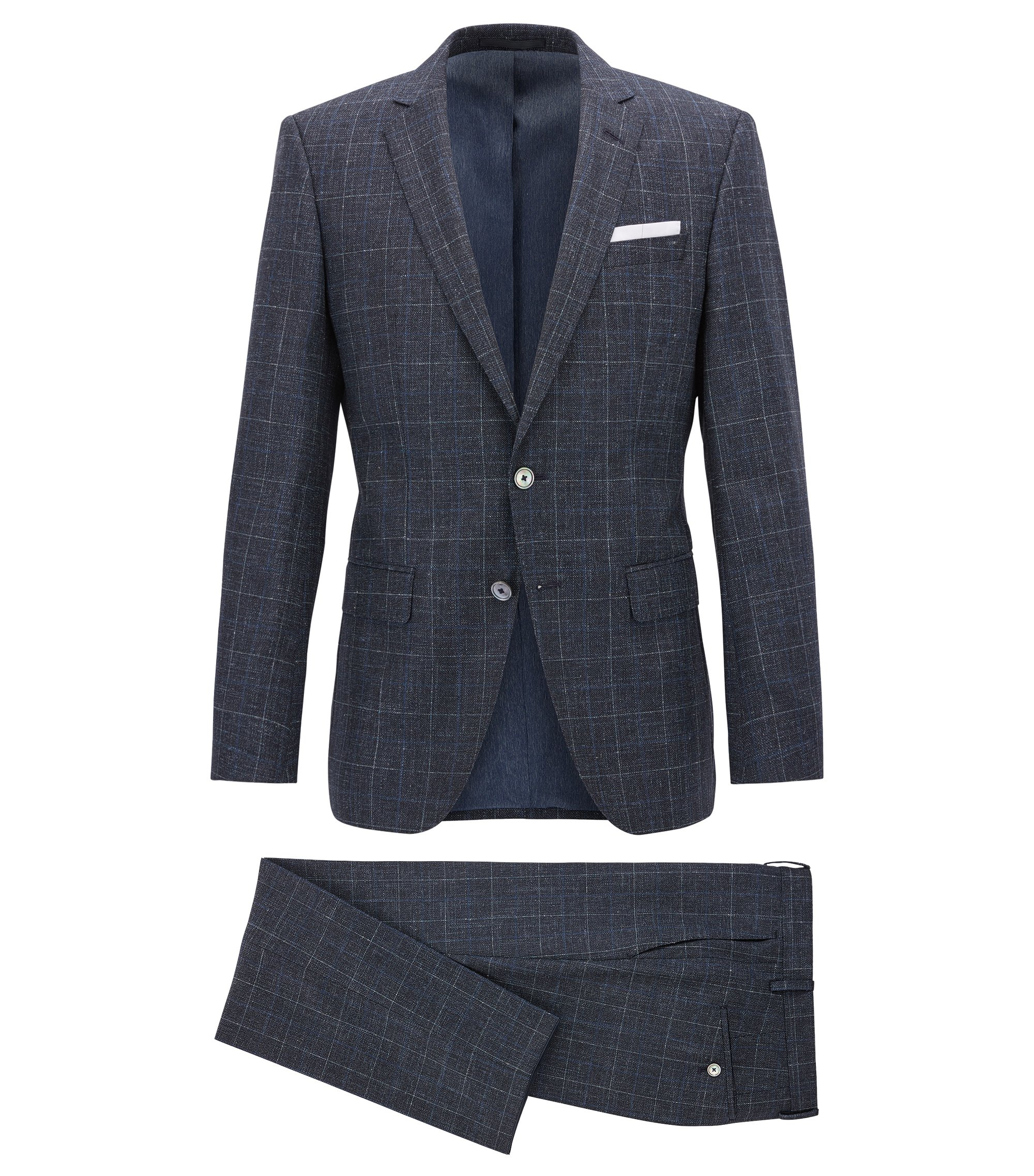 Checked slim-fit suit in a virgin-wool blend, Dark Blue