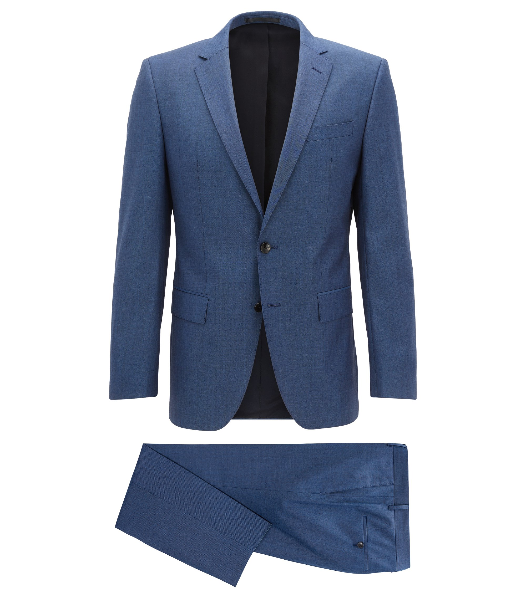 Performance-stretch virgin-wool suit in a slim fit, Open Blue