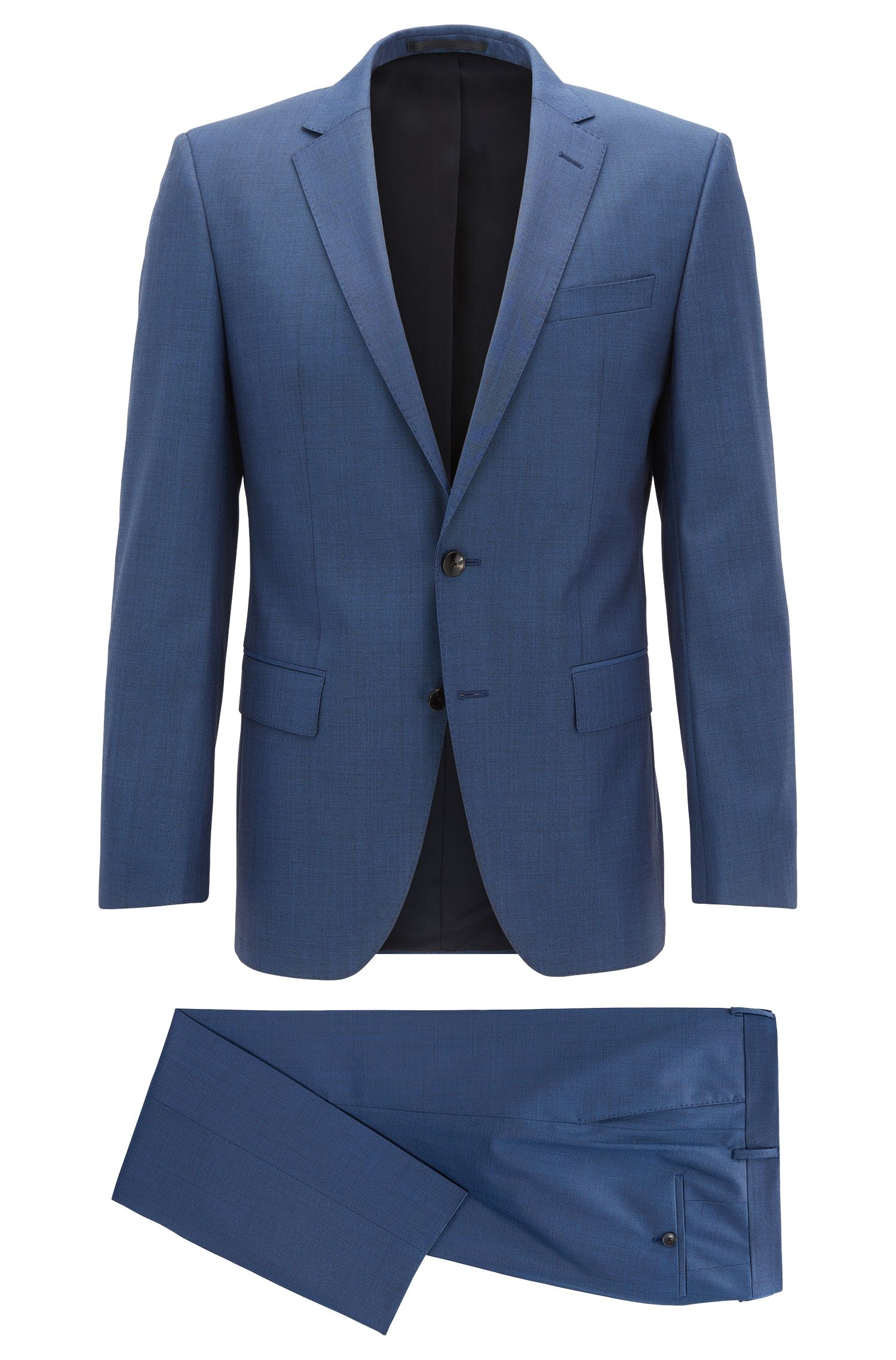 Performance-stretch virgin-wool suit in a slim fit