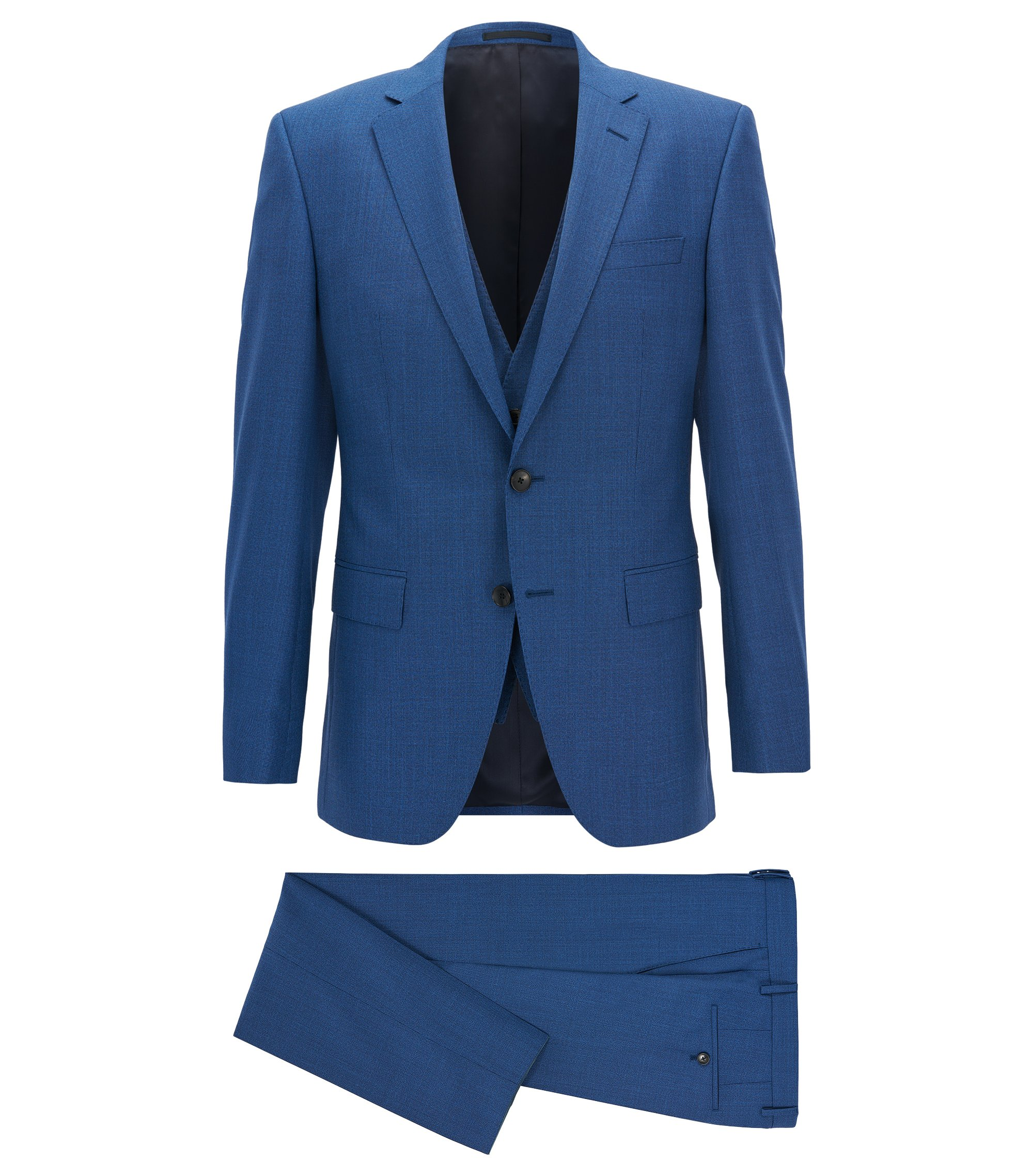 Slim-fit three-piece suit in yarn-dyed virgin wool, Blue