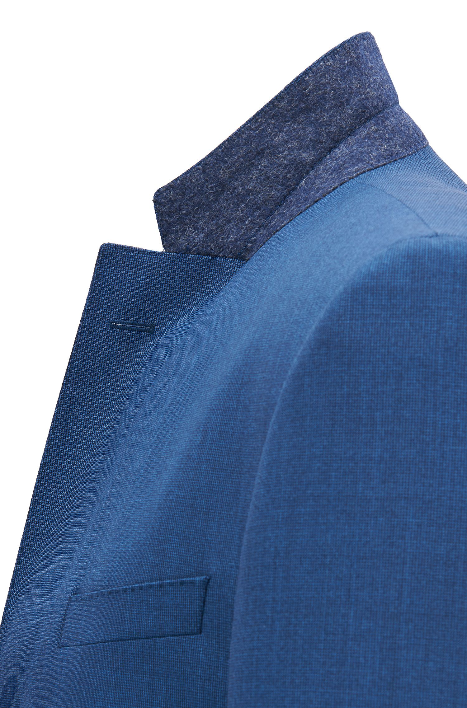 Traje con chaleco slim fit en lana virgen teñida en hilo