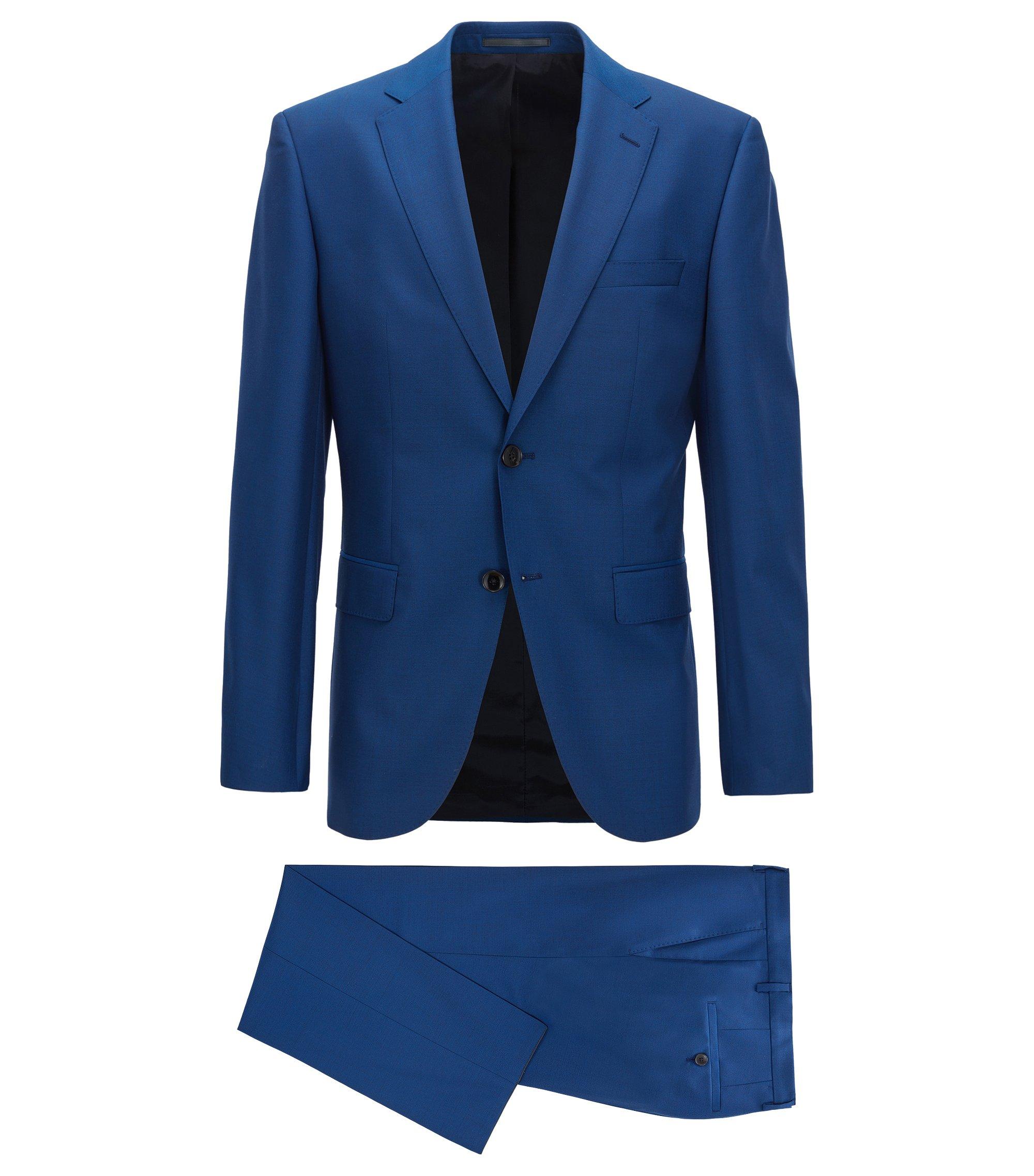 Regular-fit kostuum van gemêleerde scheerwol, Blauw