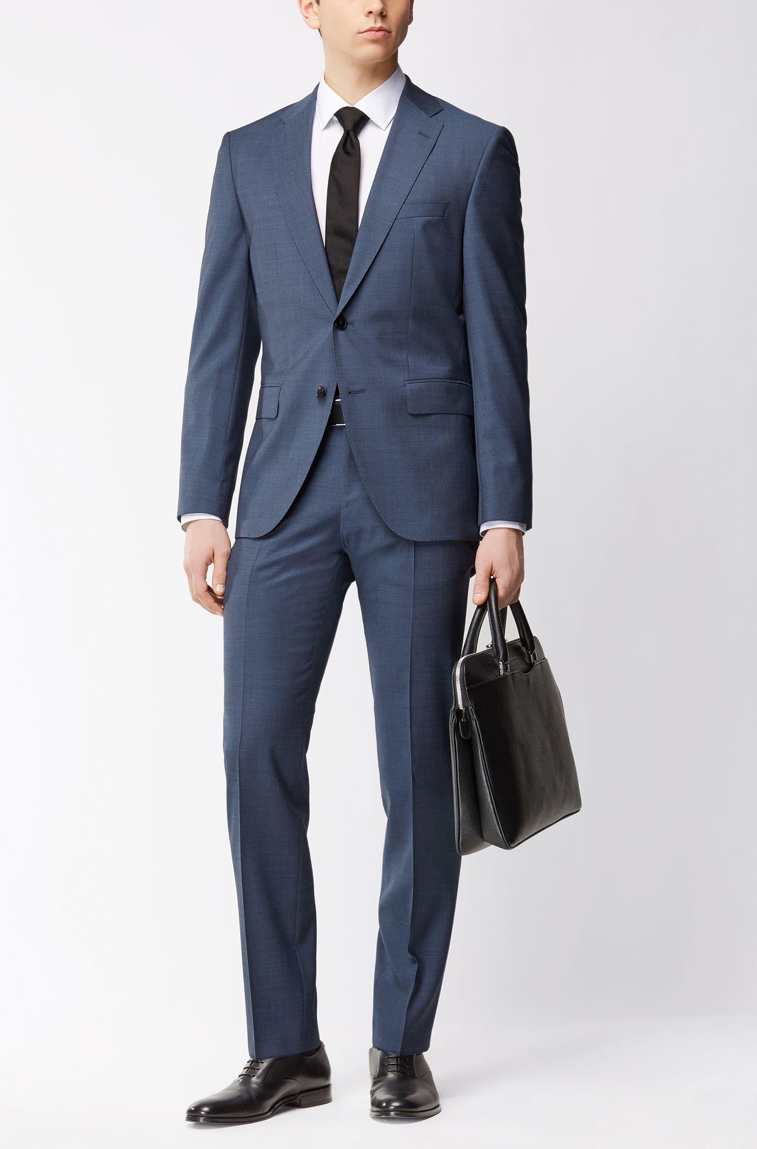 Regular-Fit Anzug aus melierter Schurwolle