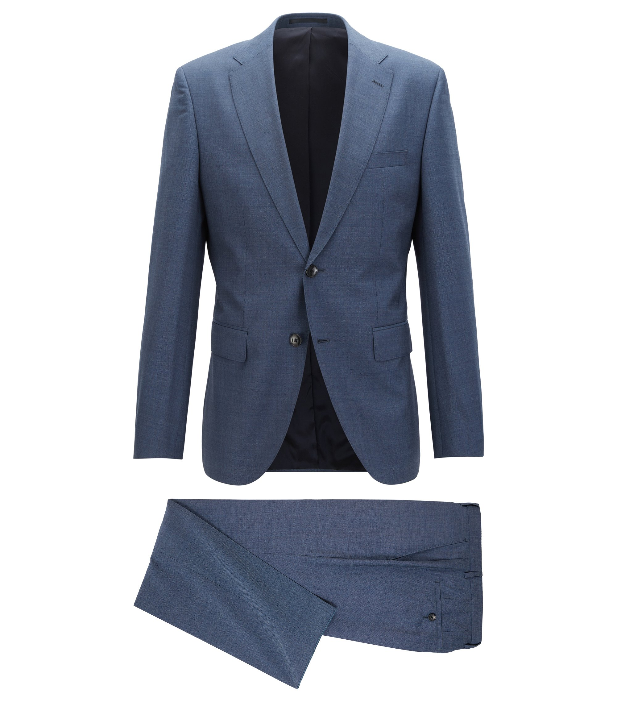Regular-fit suit in mélange virgin wool, Open Blue