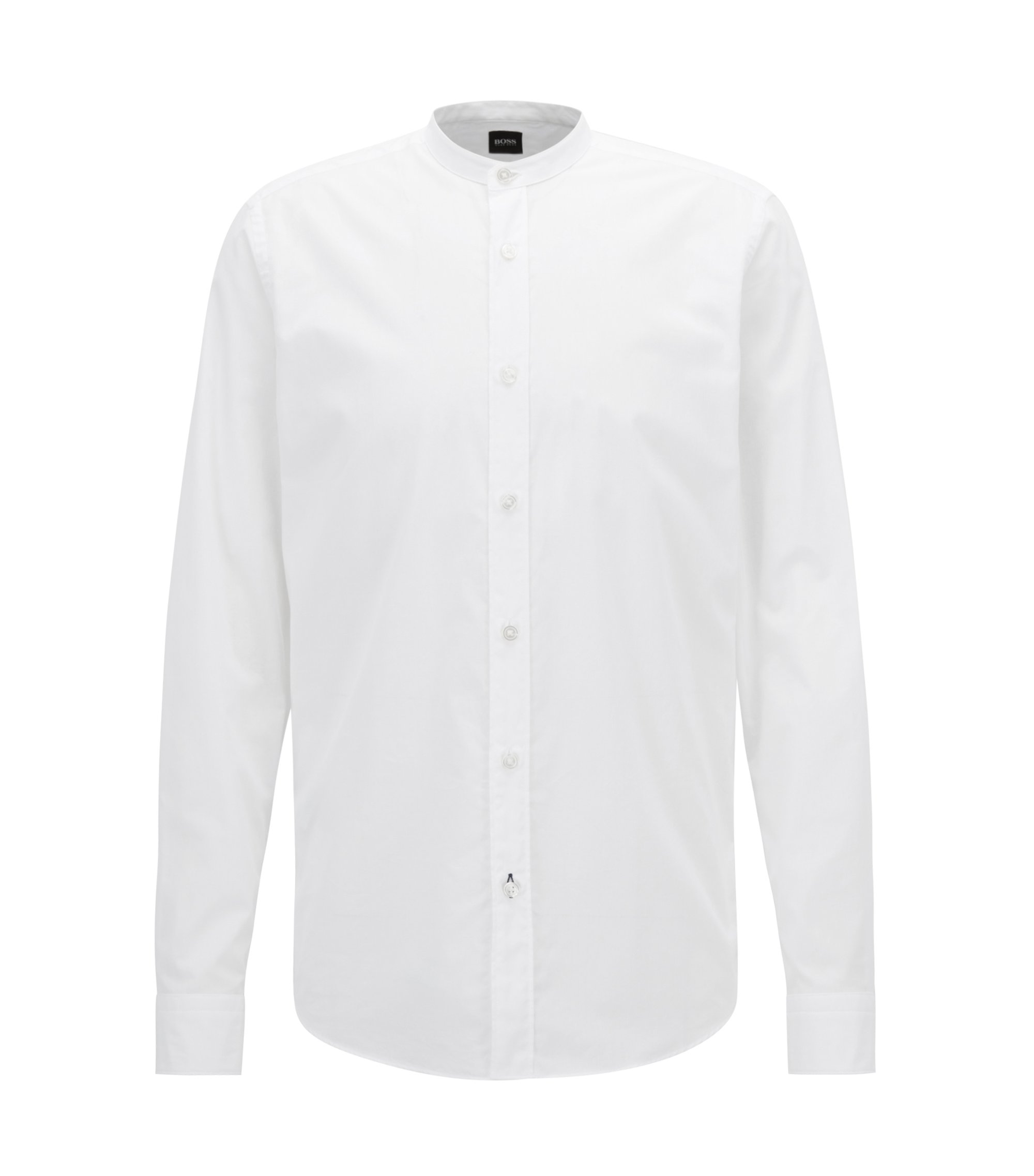 Regular-fit voile shirt with a stand collar, White