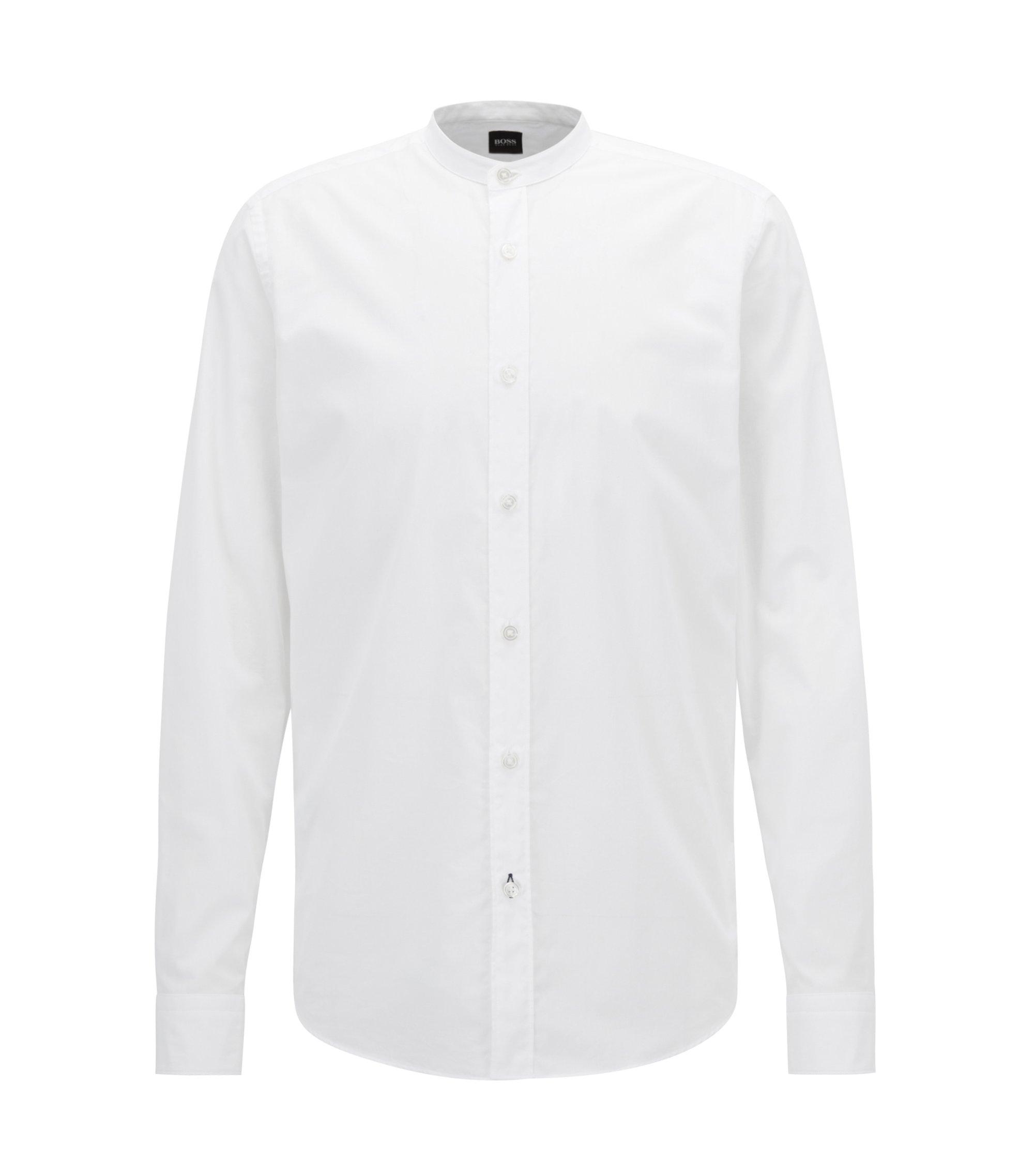 Chemise Regular Fit en voile à col montant, Blanc