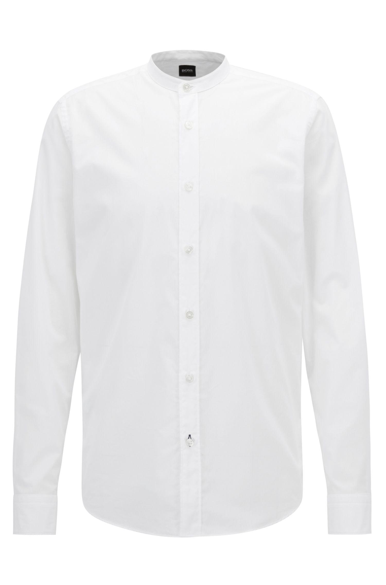 Regular-fit voile overhemd met opstaande kraag