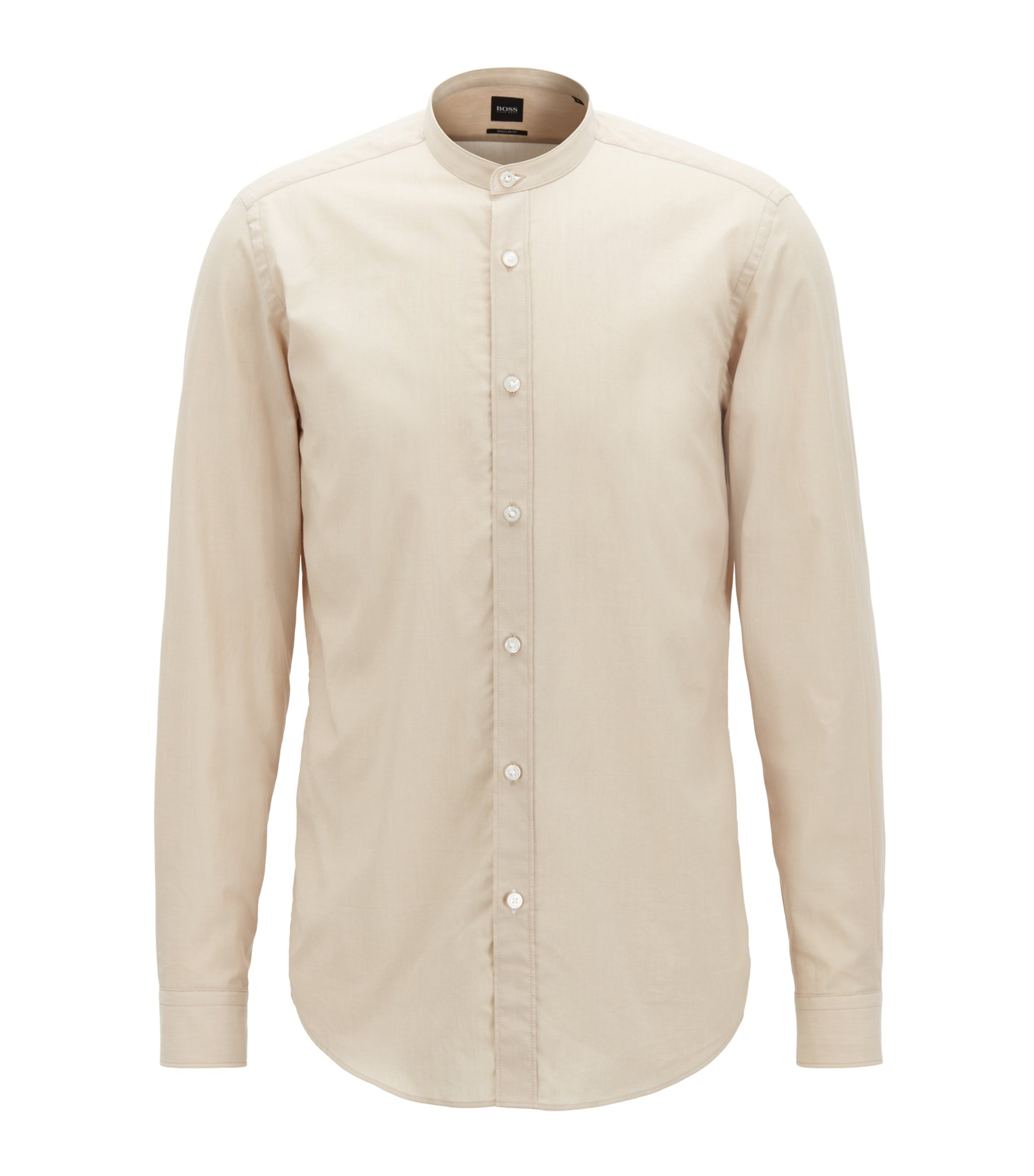 Regular-fit voile shirt with a stand collar, Natural