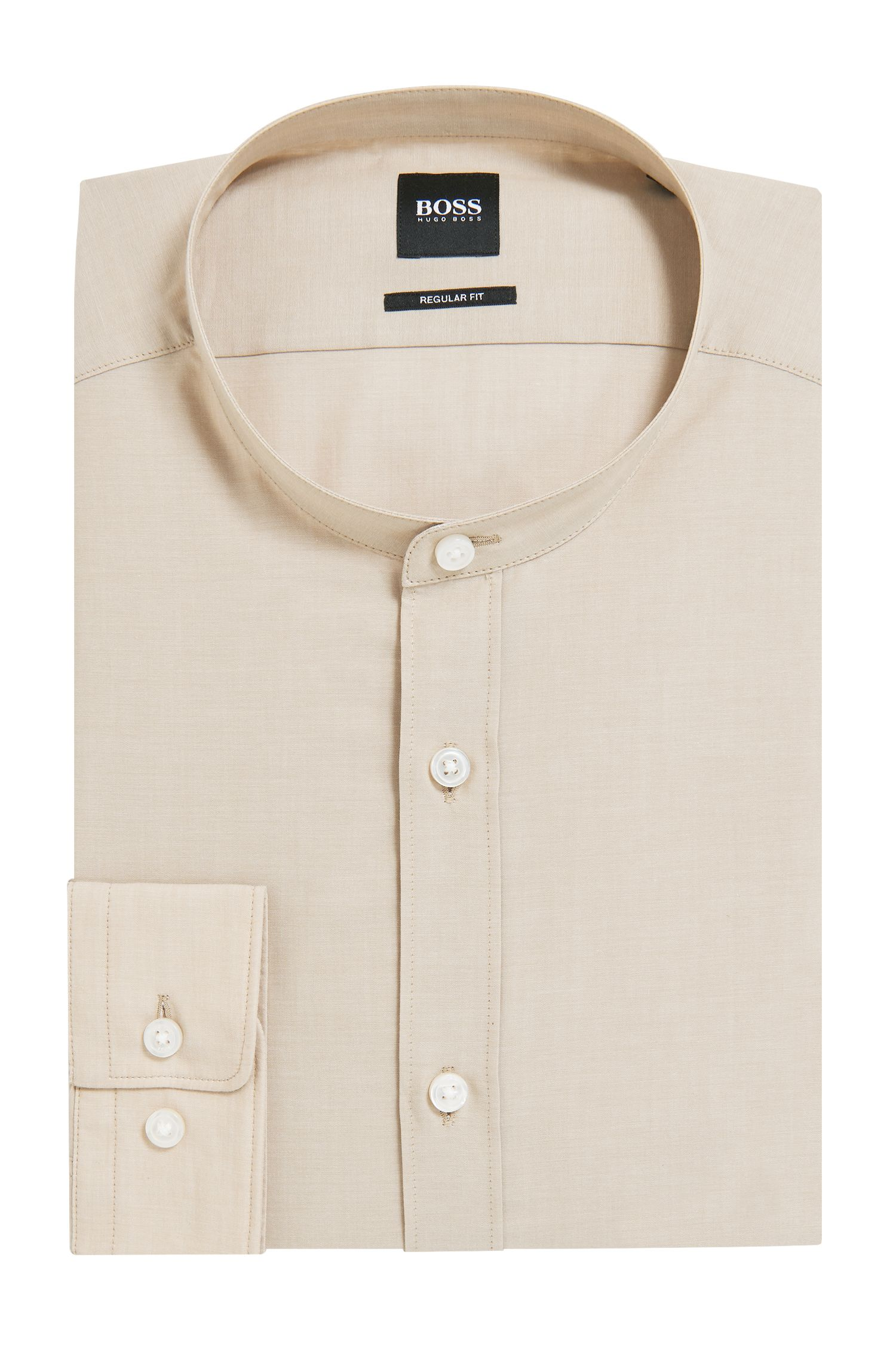 Camisa regular fit en voile con cuello mao