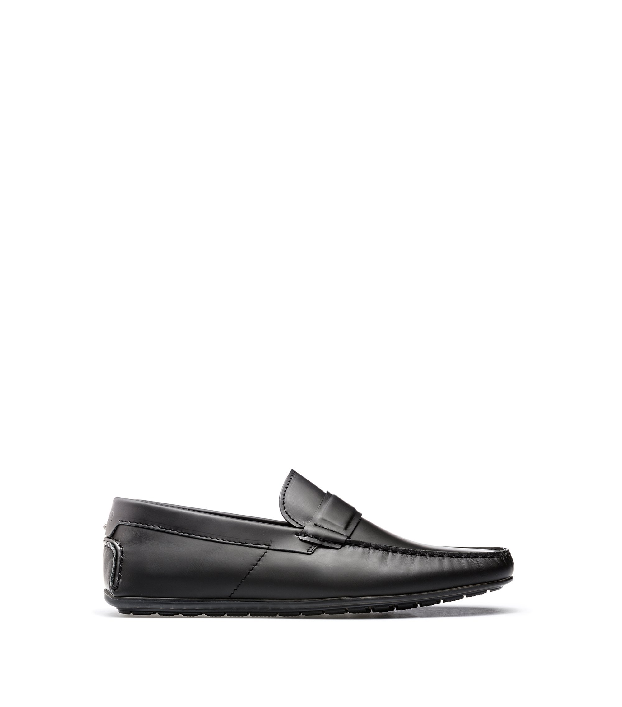 Leather moccasins with rubber outsole, Black