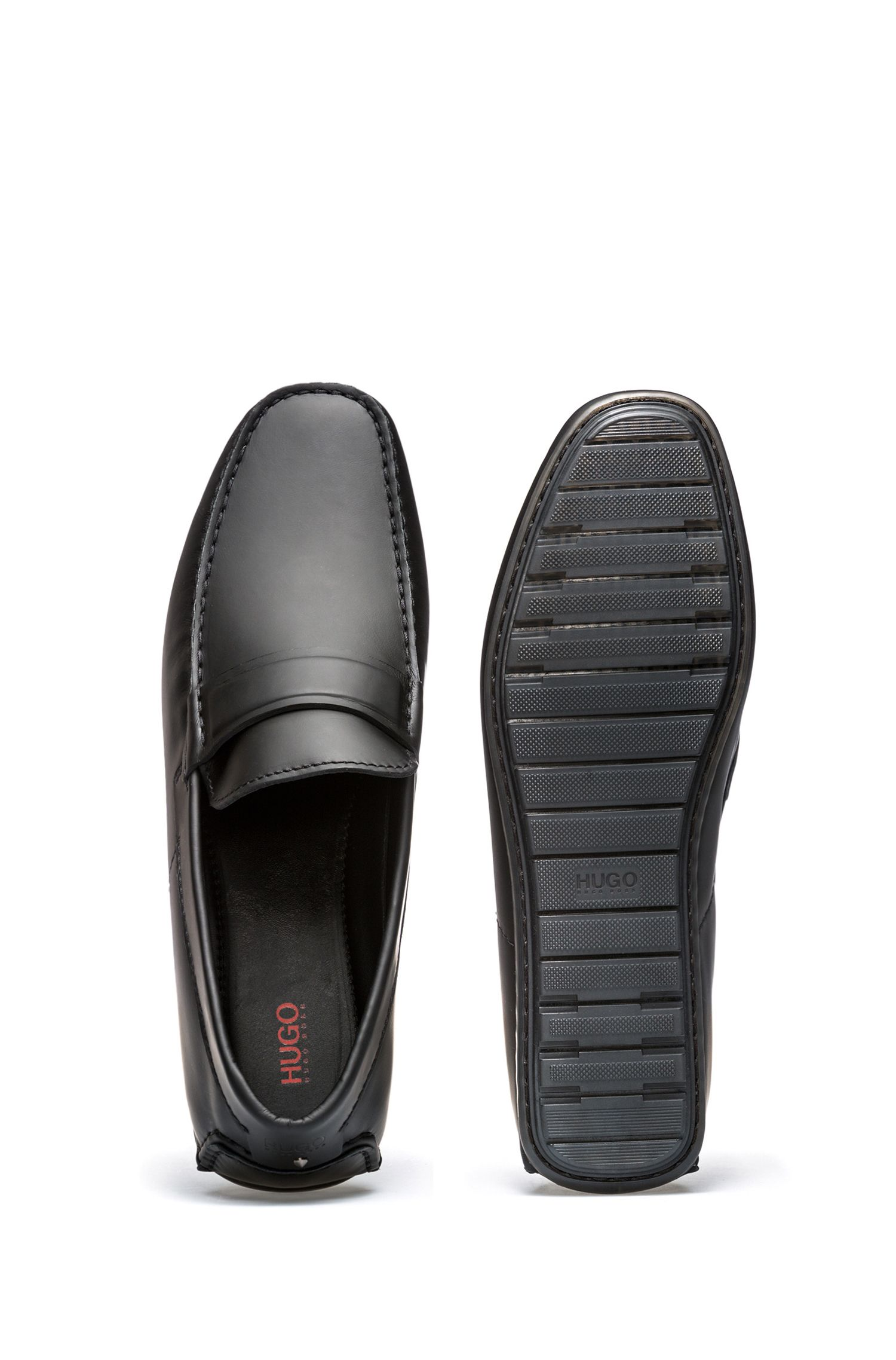 Leather moccasins with rubber outsole