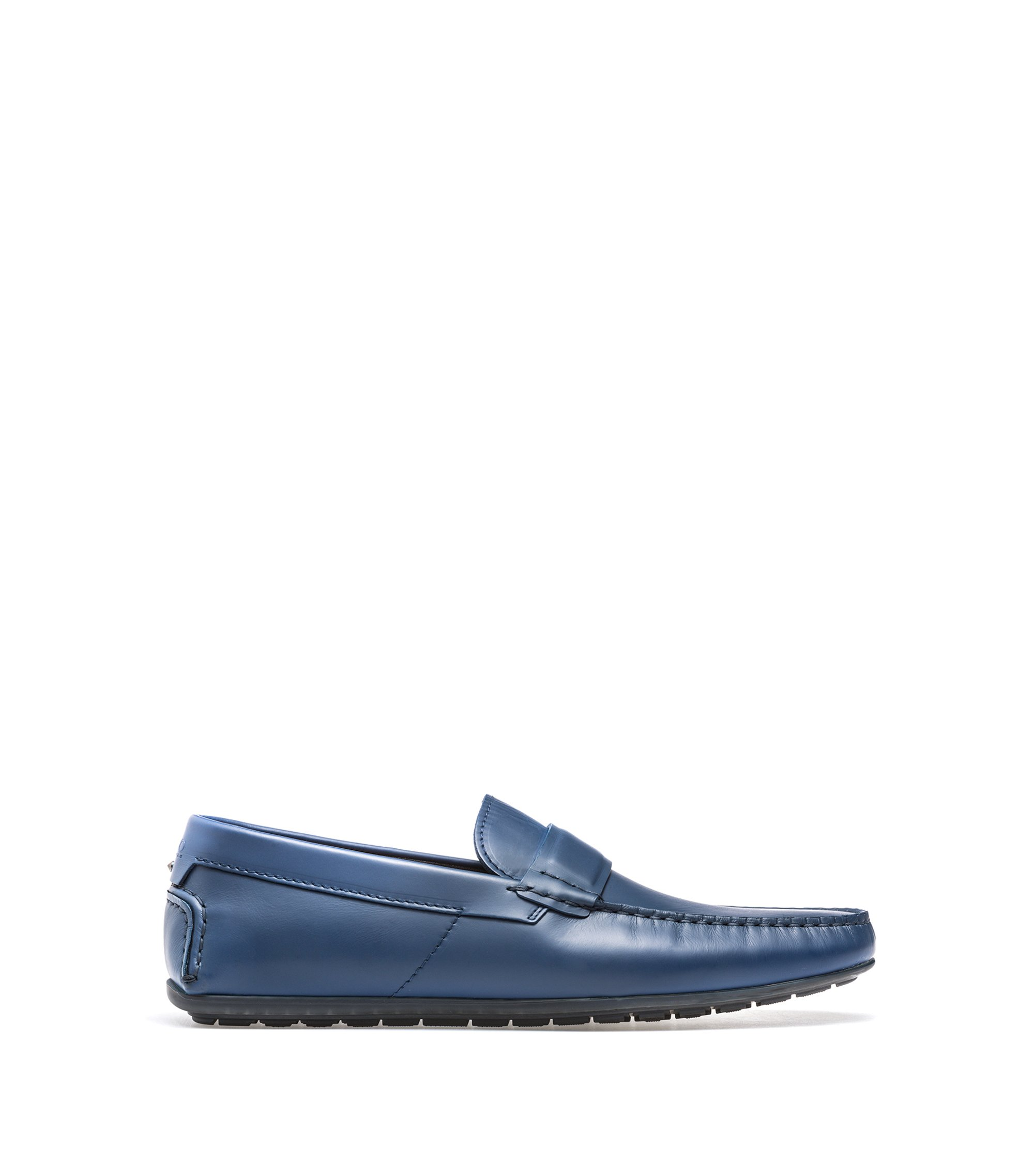 Leather moccasins with rubber outsole, Dark Blue