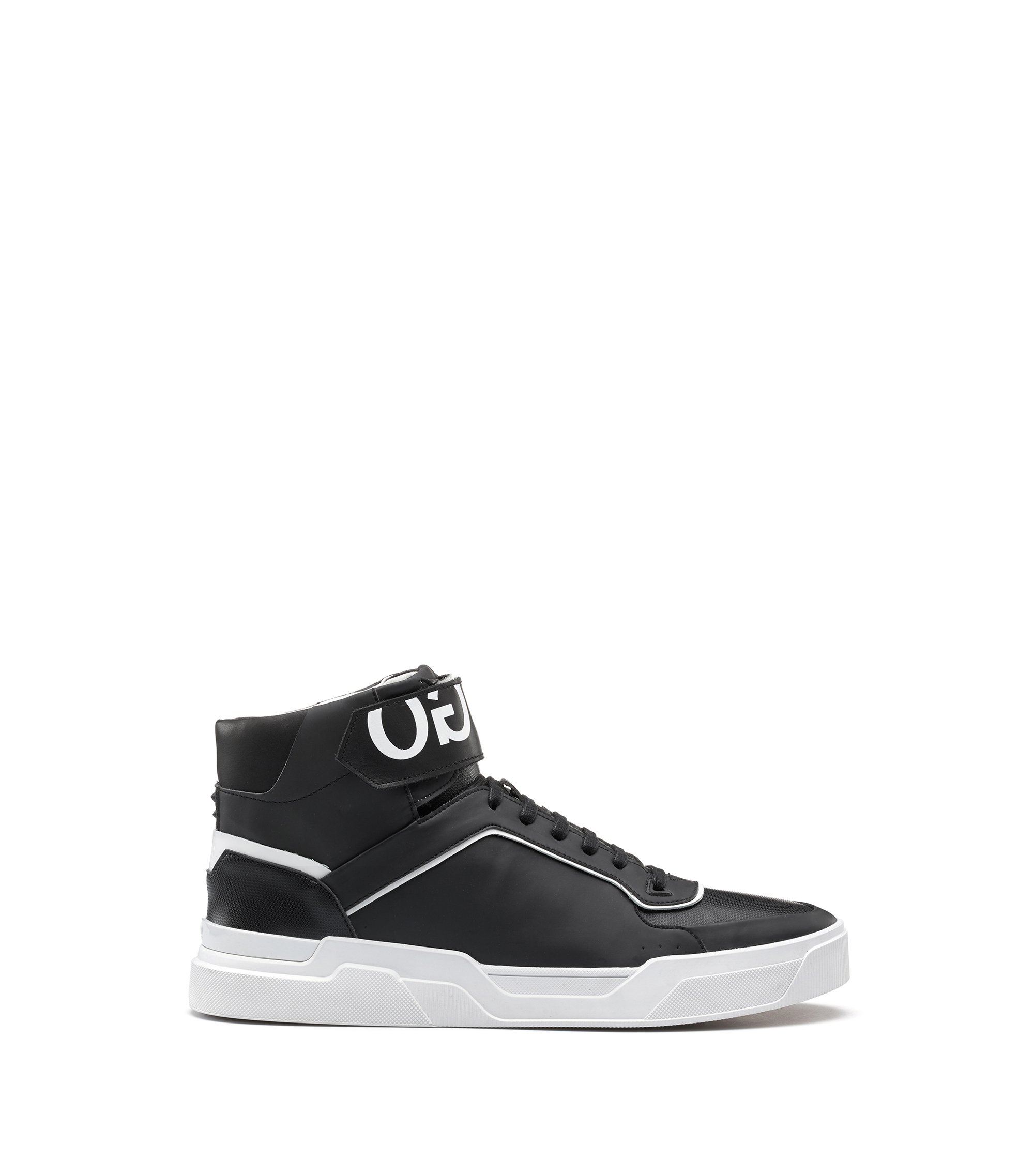 Reverse-logo high-top trainers with nappa leather and embossed technical uppers, Black