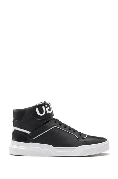 Reverse-logo high-top trainers with nappa leather and embossed technical uppers HUGO BOSS 7Kw0GEy