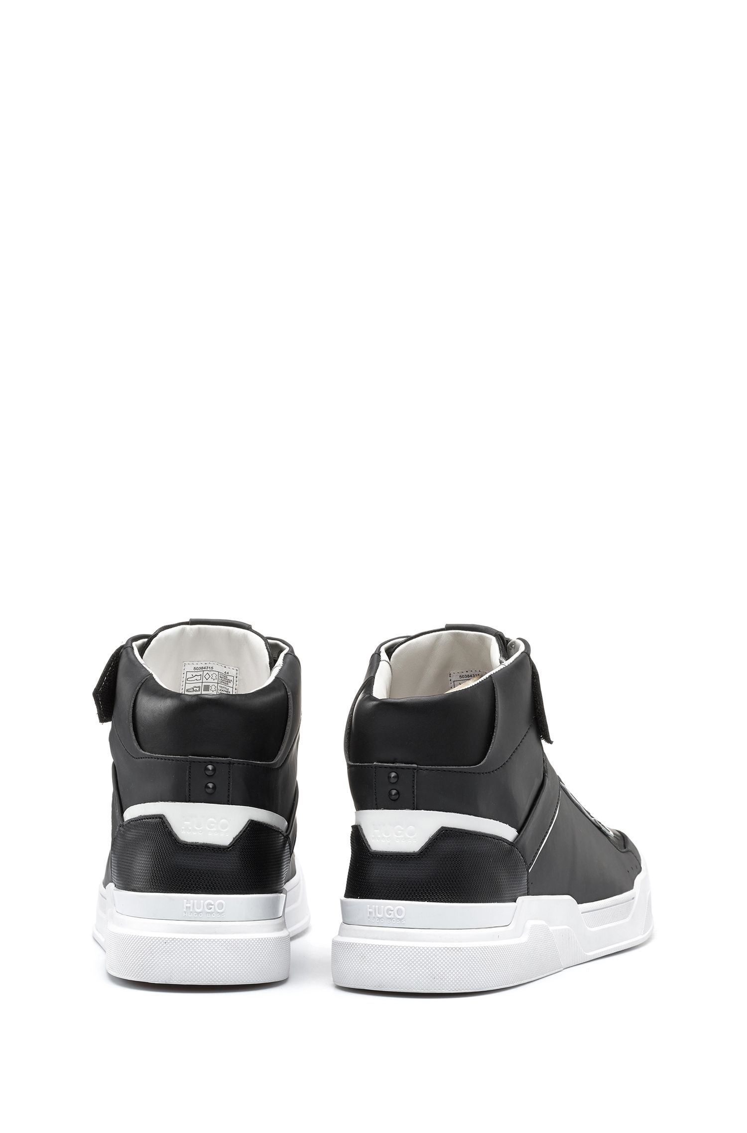 Reverse-logo high-top trainers with nappa leather and embossed technical uppers