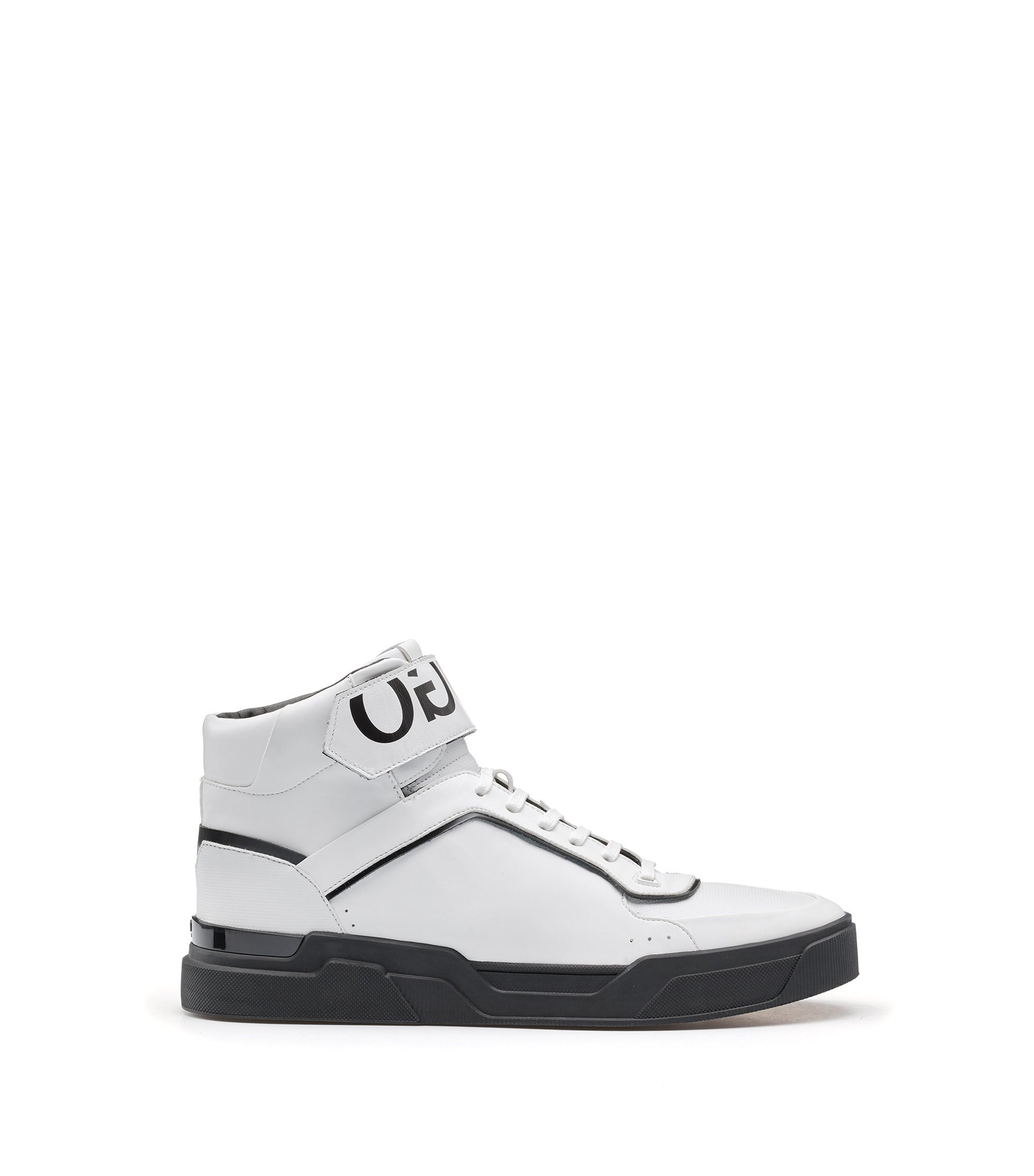 Reverse-logo high-top trainers with nappa leather and embossed technical uppers, White