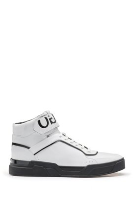 Reverse Logo Hi Top Trainers in White - 100 HUGO BOSS iSnbfKv95
