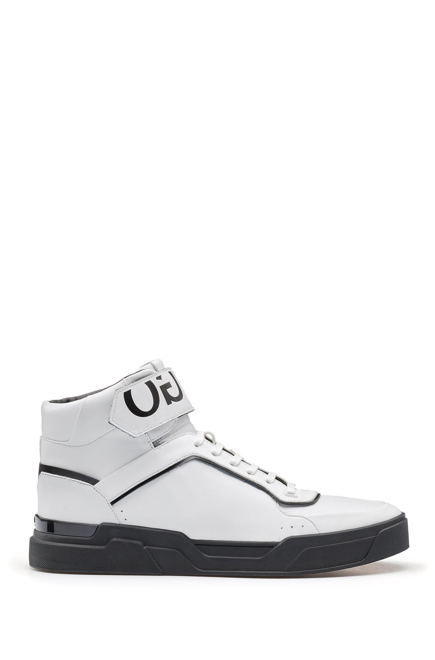 Hoge sneakers met gespiegeld logo, met nappaleer en een bovenzijde van technisch materiaal met reliëf