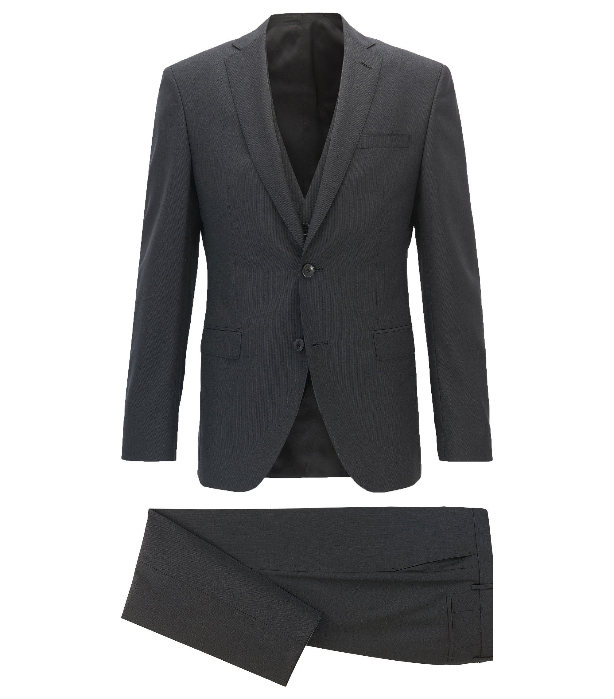Extra-slim-fit three-piece suit in stripe structured virgin wool, Black