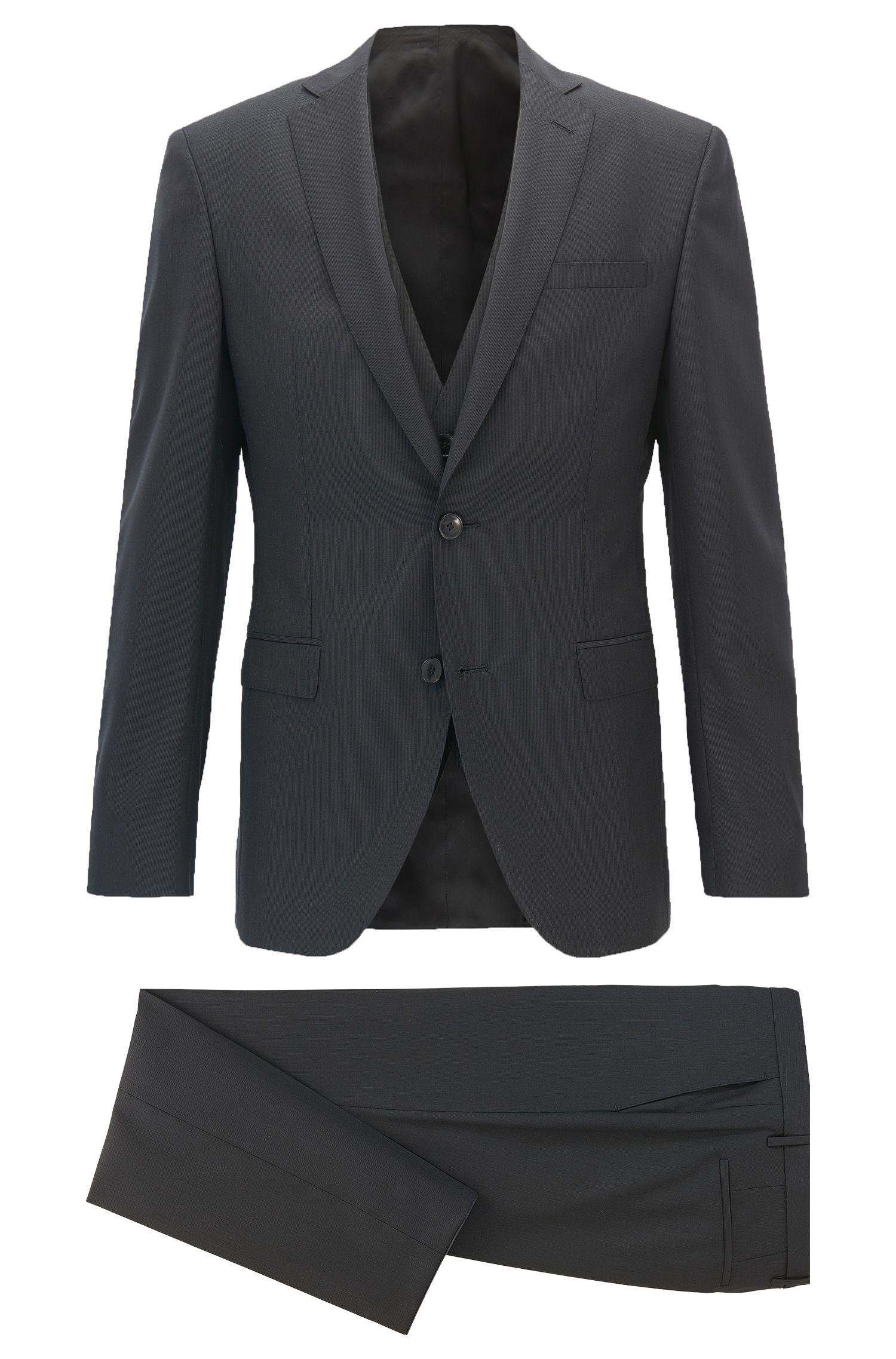 Extra-slim-fit three-piece suit in stripe structured virgin wool