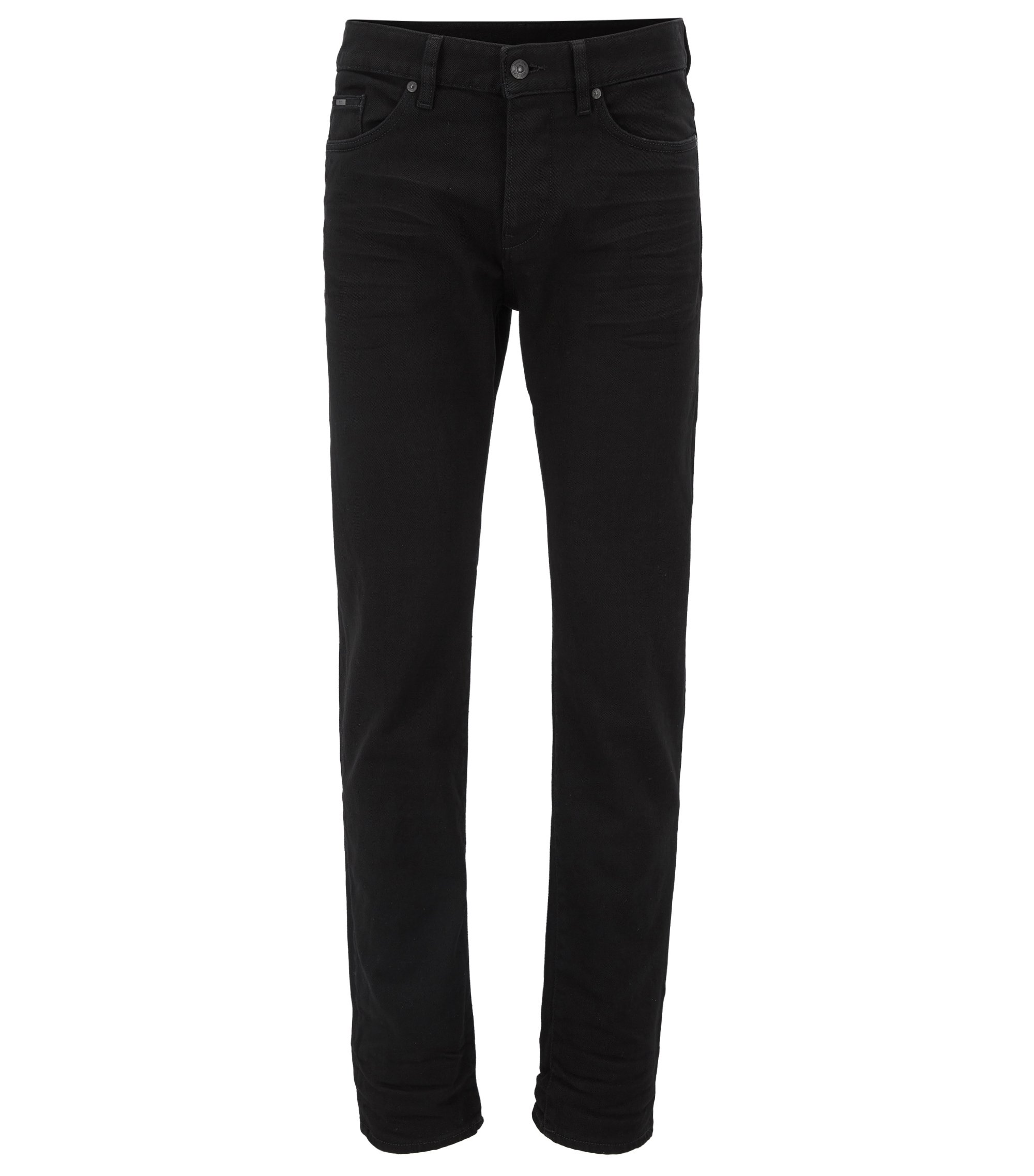 Slim-fit jeans van zwart, rinse-washed stretchdenim, Zwart