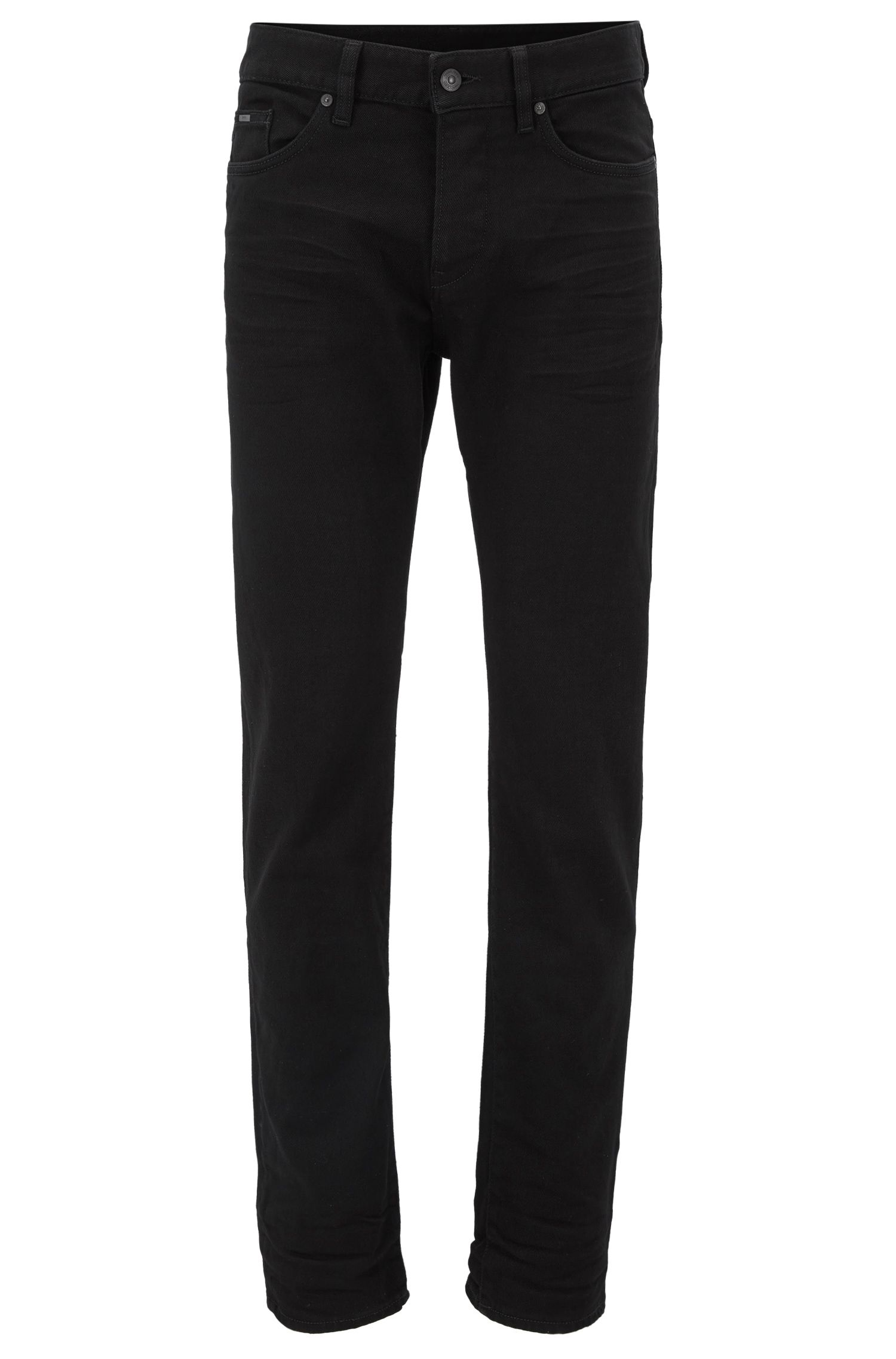 Slim-fit jeans van zwart, rinse-washed stretchdenim